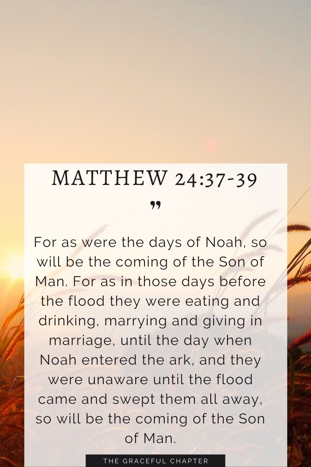 For as were the days of Noah, so will be the coming of the Son of Man. For as in those days before the flood they were eating and drinking, marrying and giving in marriage, until the day when Noah entered the ark, and they were unaware until the flood came and swept them all away, so will be the coming of the Son of Man. Matthew 24:37-39