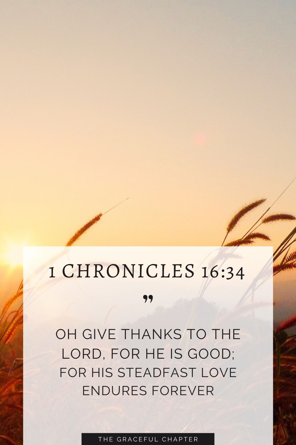 Oh give thanks to the Lord, for he is good; for his steadfast love endures foreverOh give thanks to the Lord, for he is good; for his steadfast love endures forever 1 Chronicles 16:34