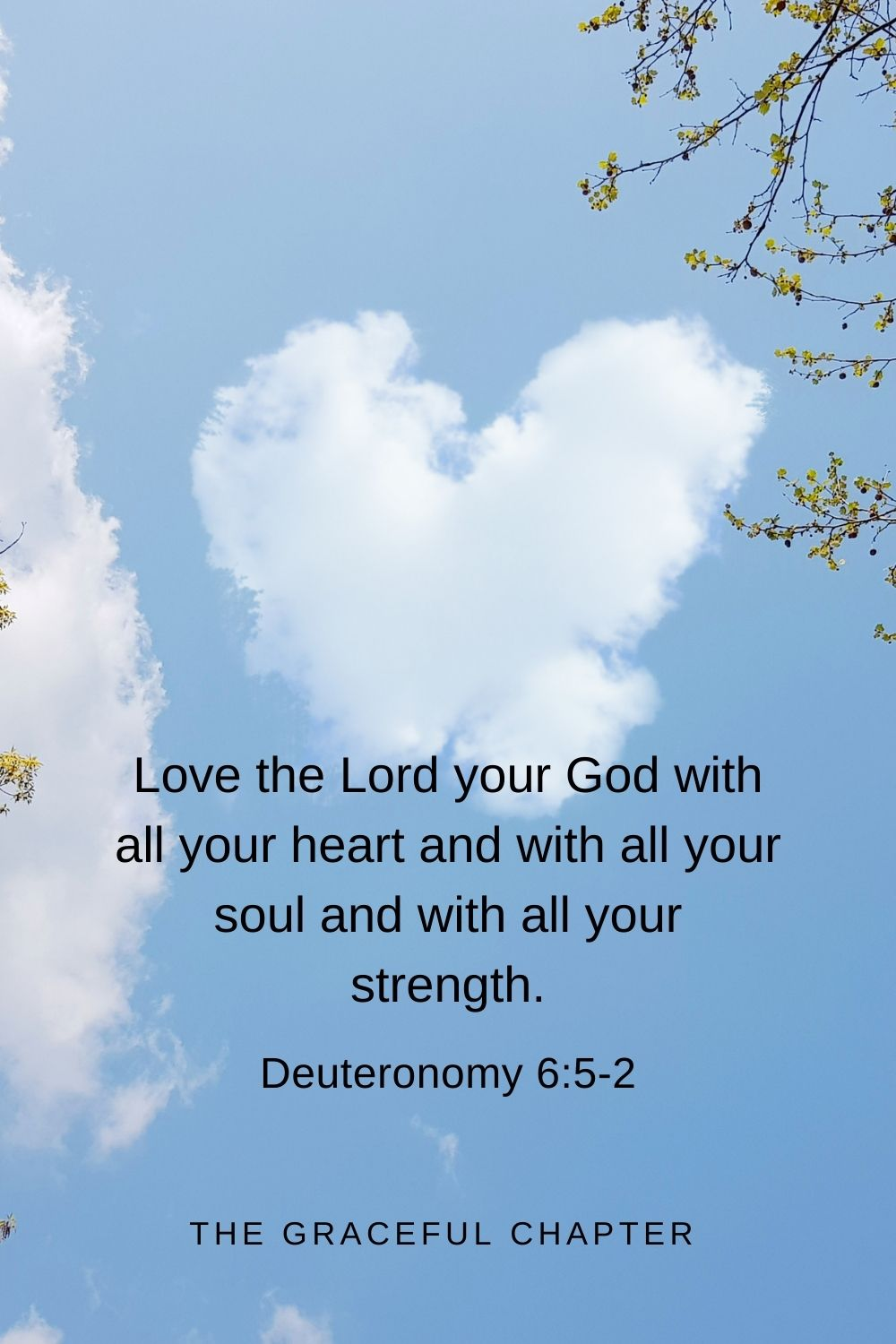 Love the Lord your God with all your heart and with all your soul and with all your strength. Deuteronomy 6:5-2