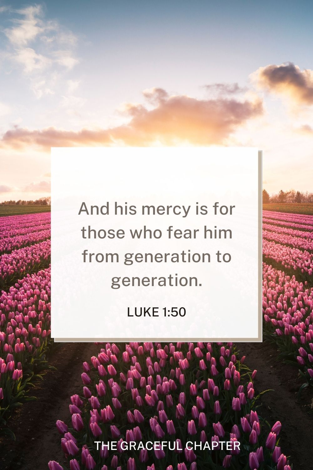 And his mercy is for those who fear him from generation to generation. Luke 1:50