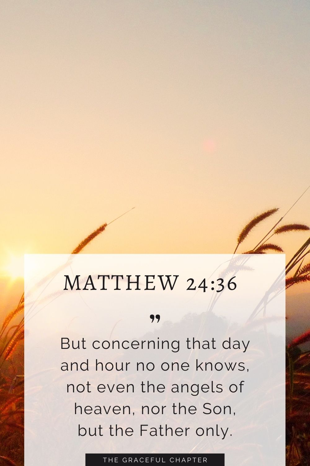 But concerning that day and hour no one knows, not even the angels of heaven, nor the Son, but the Father onlyBut concerning that day and hour no one knows, not even the angels of heaven, nor the Son, but the Father only. Matthew 24:36