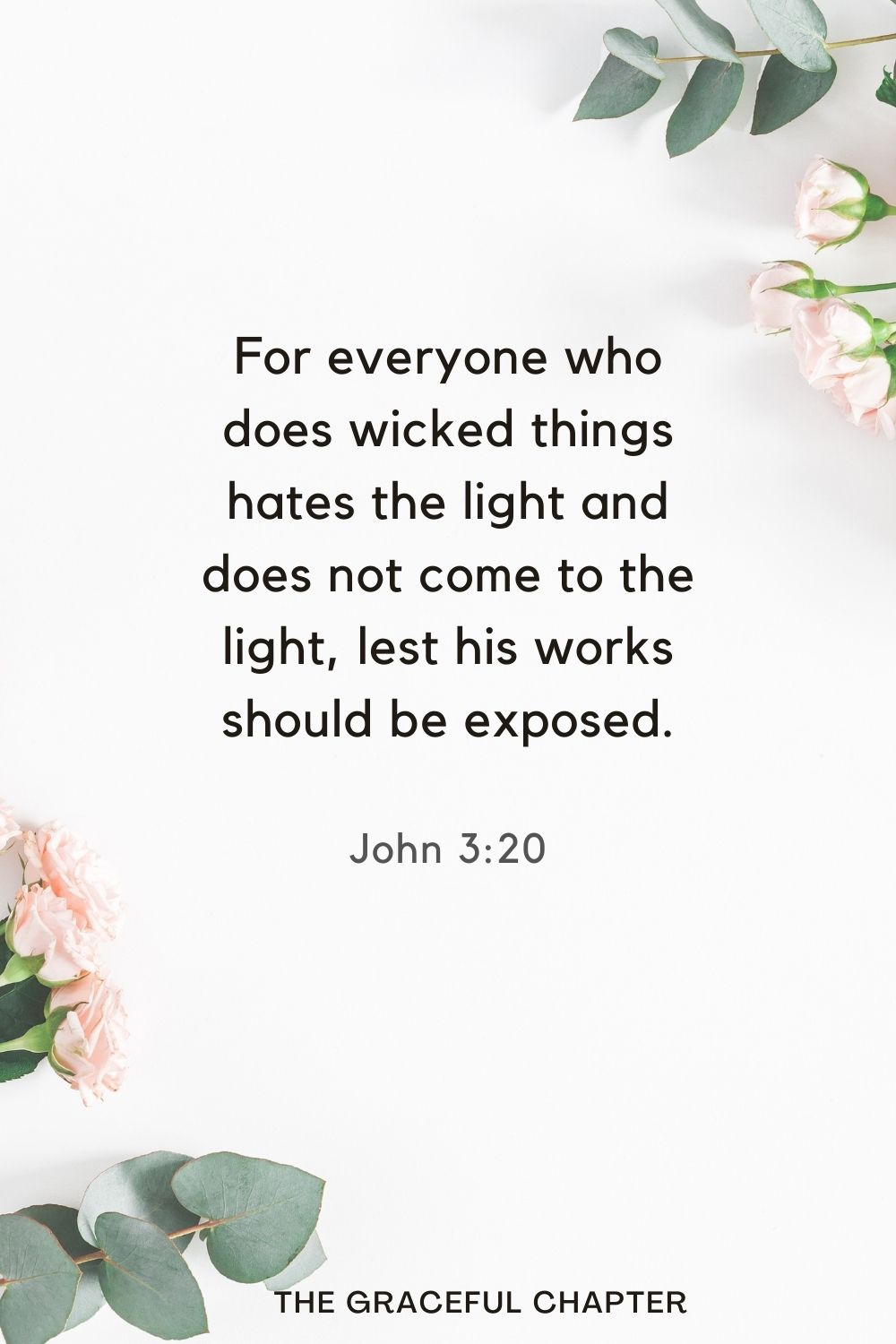 For everyone who does wicked things hates the light and does not come to the light, lest his works should be exposed. John 3:20