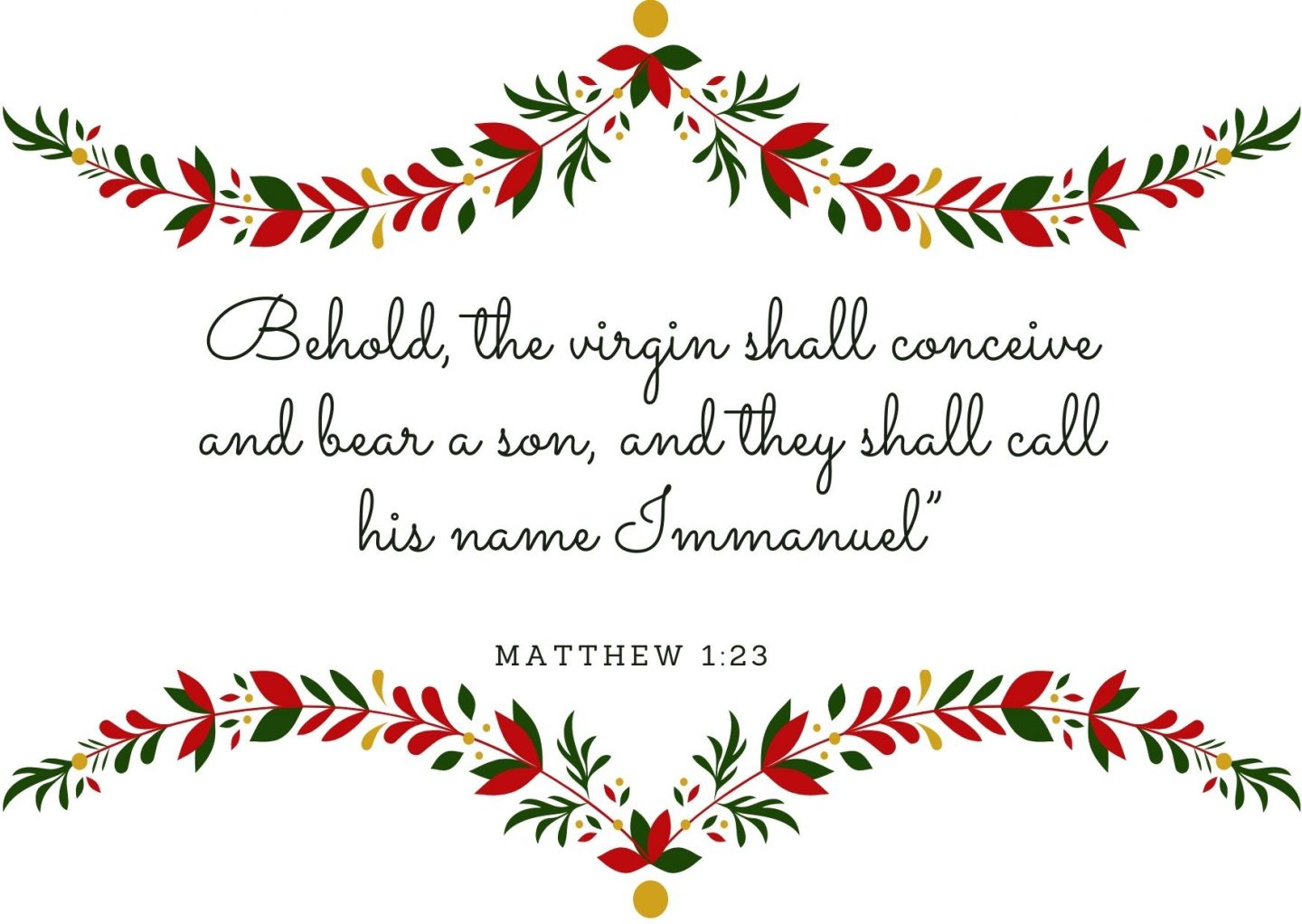 """Behold, the virgin shall conceive and bear a son, and they shall call his name Immanuel"""" Matthew 1:23"""