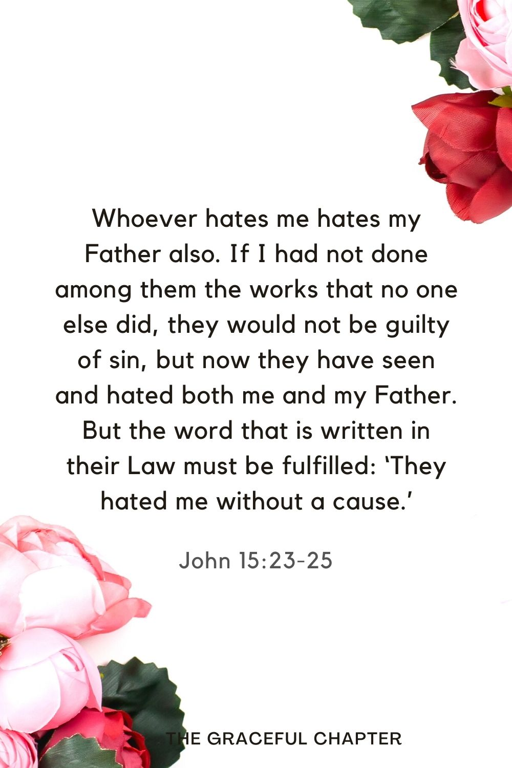 Whoever hates me hates my Father also.If I had not done among them the works that no one else did, they would not be guilty of sin, but now they have seen and hated both me and my Father. But the word that is written in their Law must be fulfilled: 'They hated me without a cause.' John 15:23-25