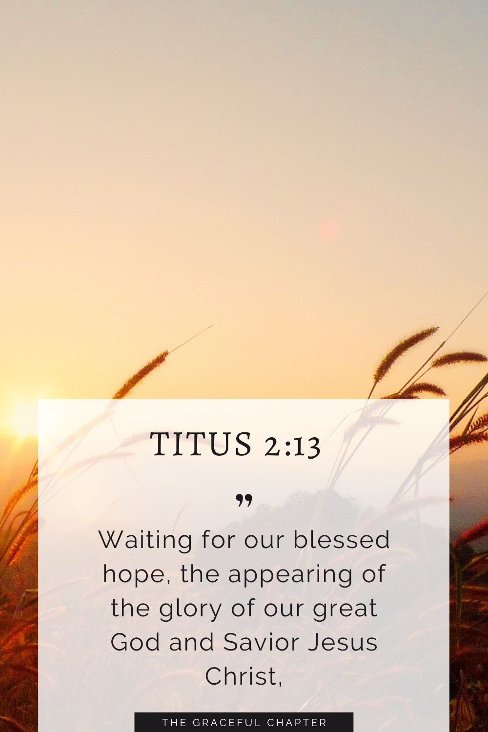 Waiting for our blessed hope, the appearing of the glory of our great God and Savior Jesus Christ, Titus 2:13