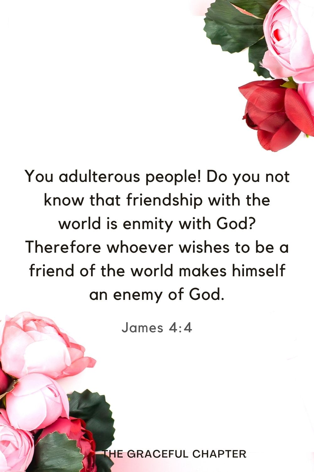 You adulterous people! Do you not know that friendship with the world is enmity with God? Therefore whoever wishes to be a friend of the world makes himself an enemy of God. James 4:4