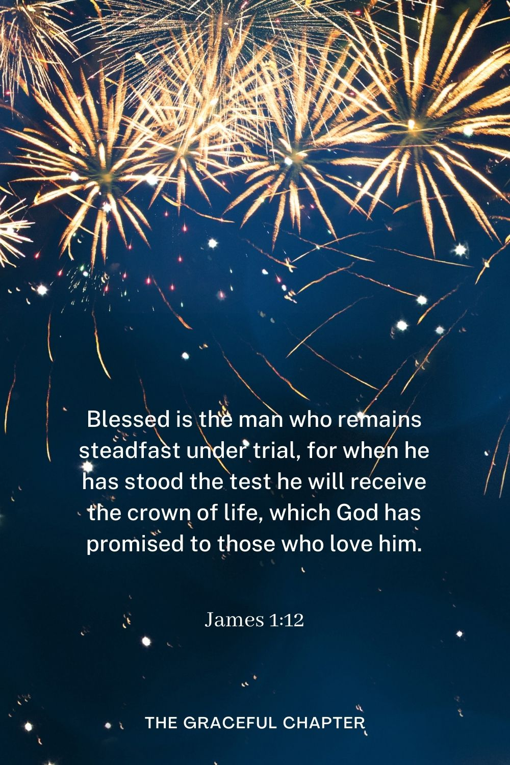 Blessed is the man who remains steadfast under trial, for when he has stood the test he will receive the crown of life, which God has promised to those who love him. James 1:12
