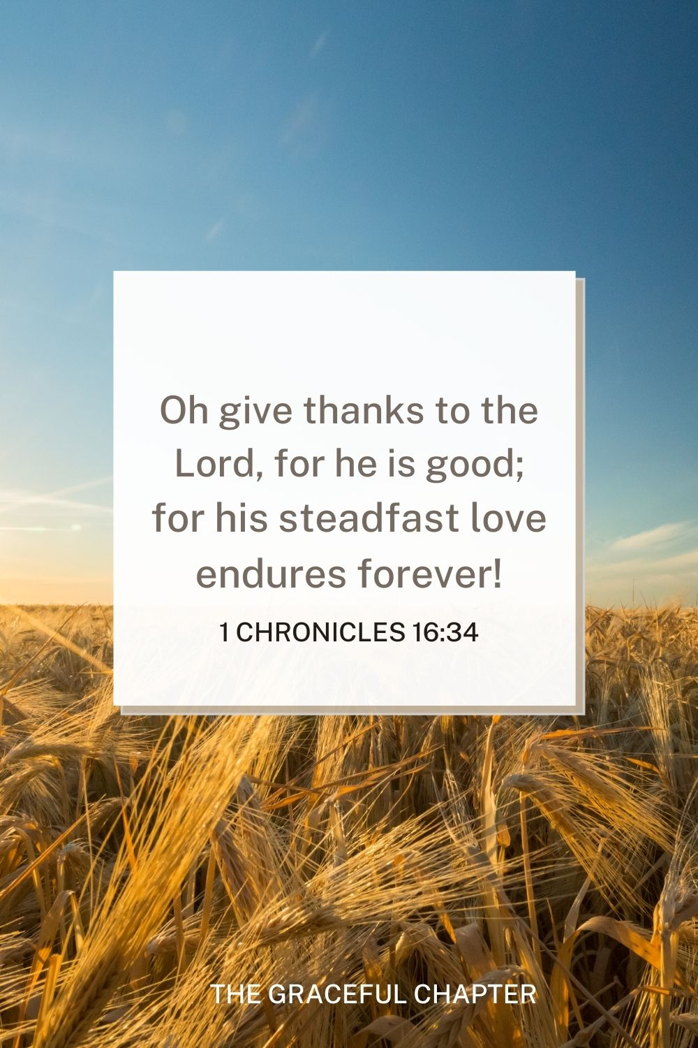 Oh give thanks to the Lord, for he is good; for his steadfast love endures forever! 1 Chronicles 16:34