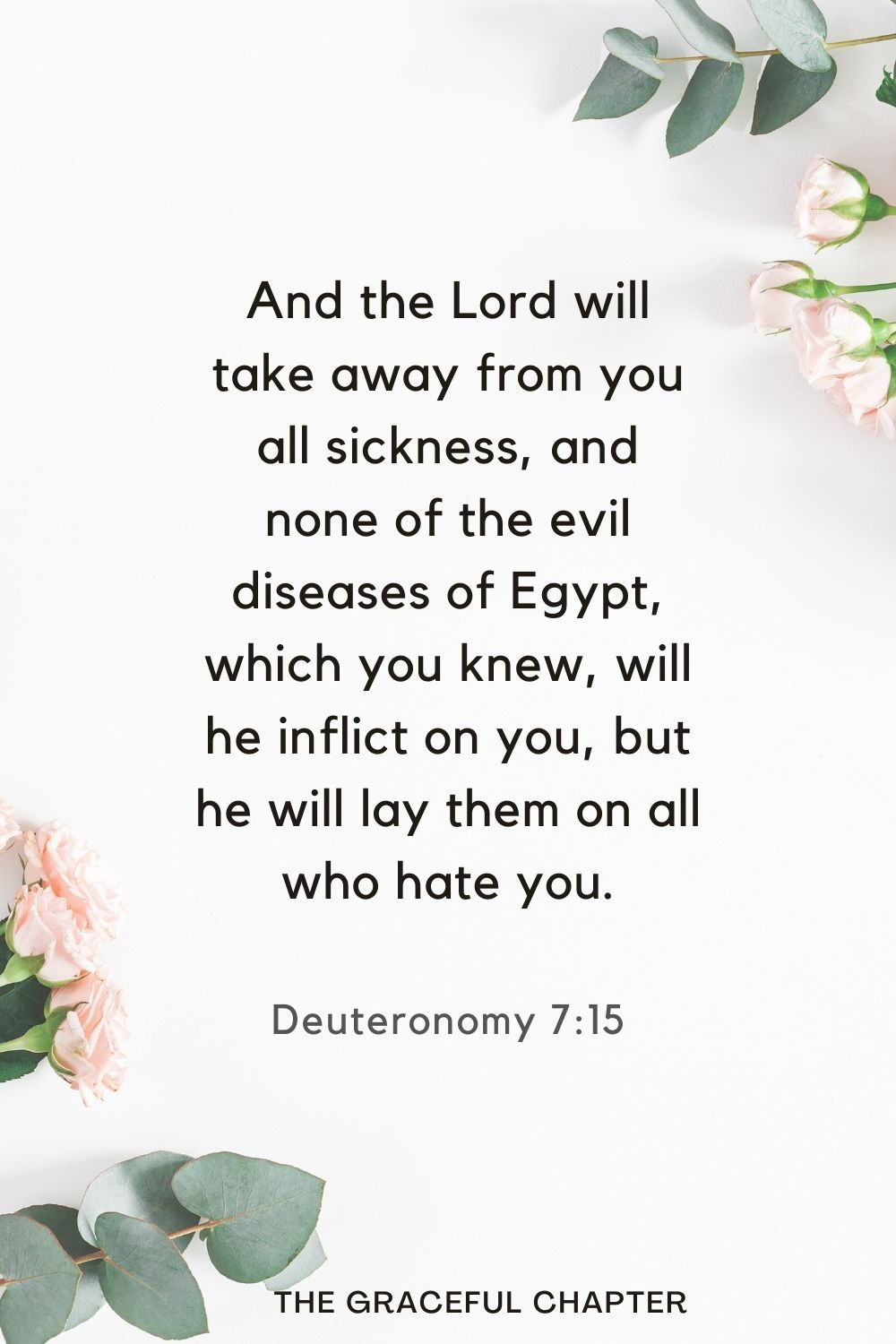 And the Lord will take away from you all sickness, and none of the evil diseases of Egypt, which you knew, will he inflict on you, but he will lay them on all who hate you. Deuteronomy 7:15