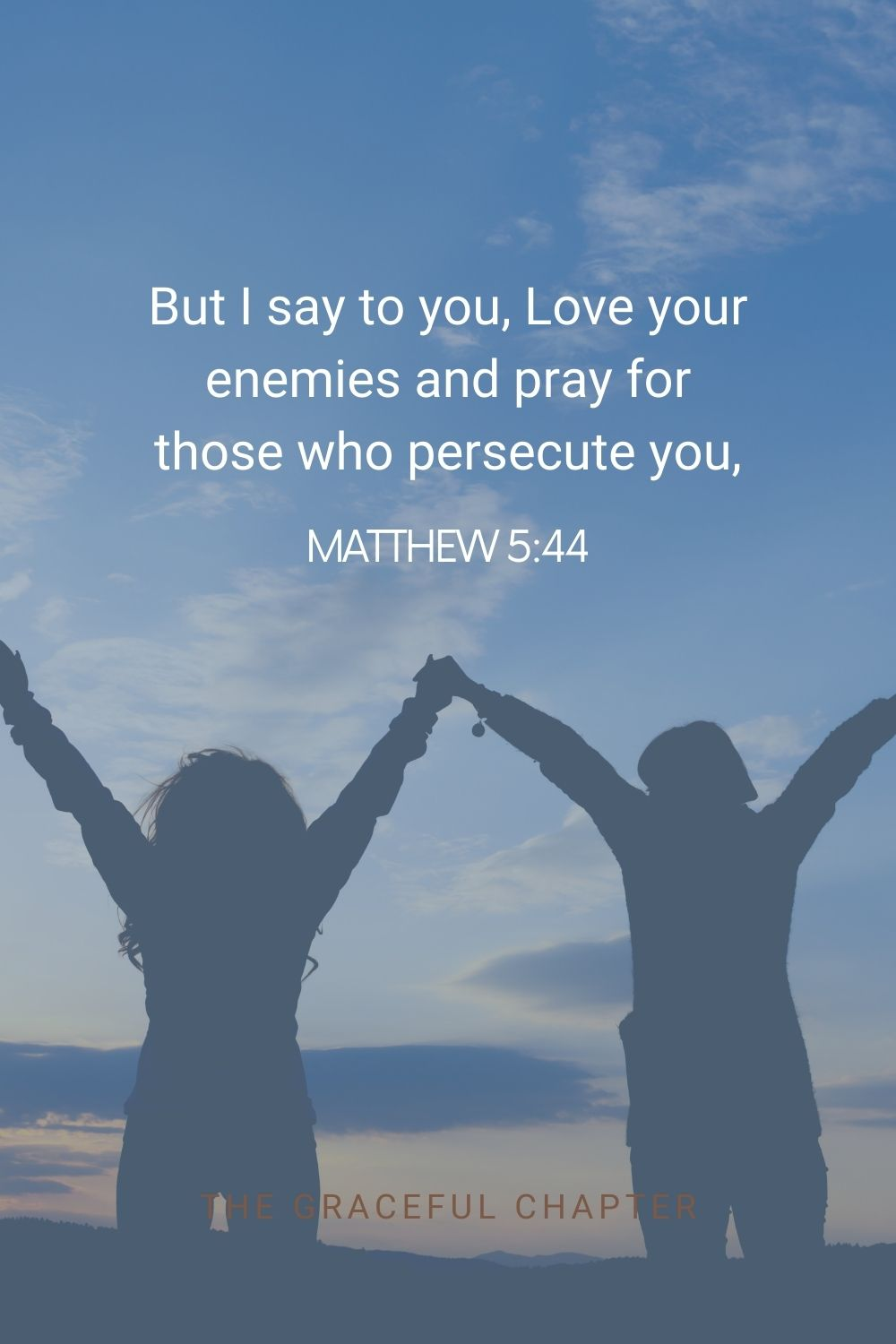 But I say to you, Love your enemies and pray for those who persecute you, Matthew 5:44