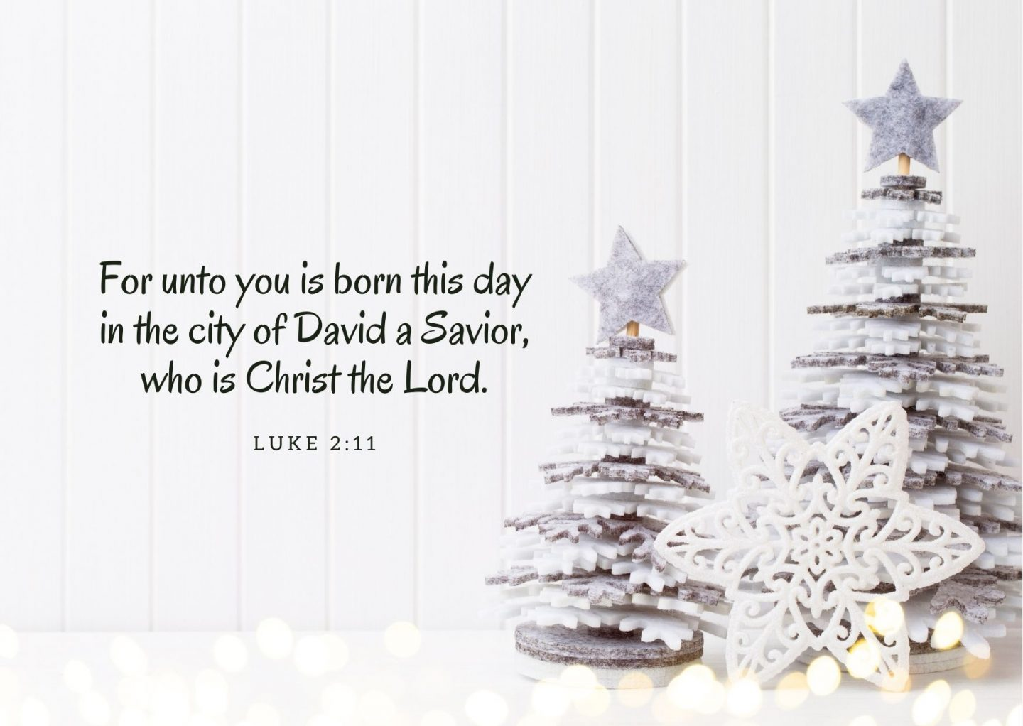 For unto you is born this day in the city of David a Savior, who is Christ the Lord. Luke 2:11