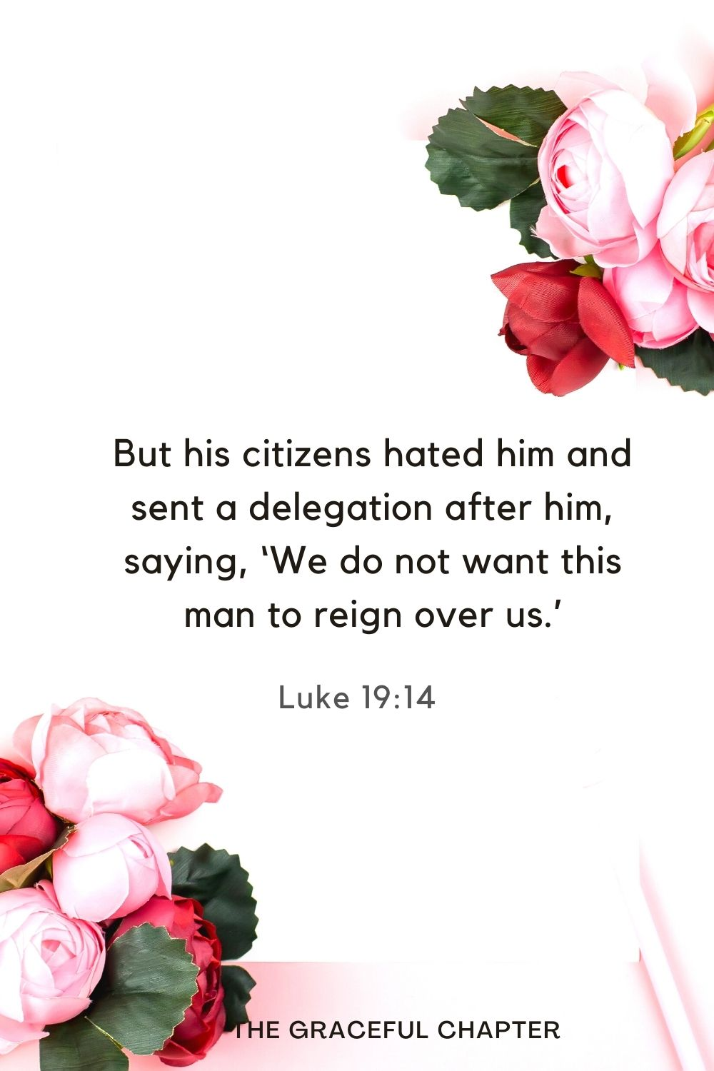 But his citizens hated him and sent a delegation after him, saying, 'We do not want this man to reign over us.' Luke 19:14