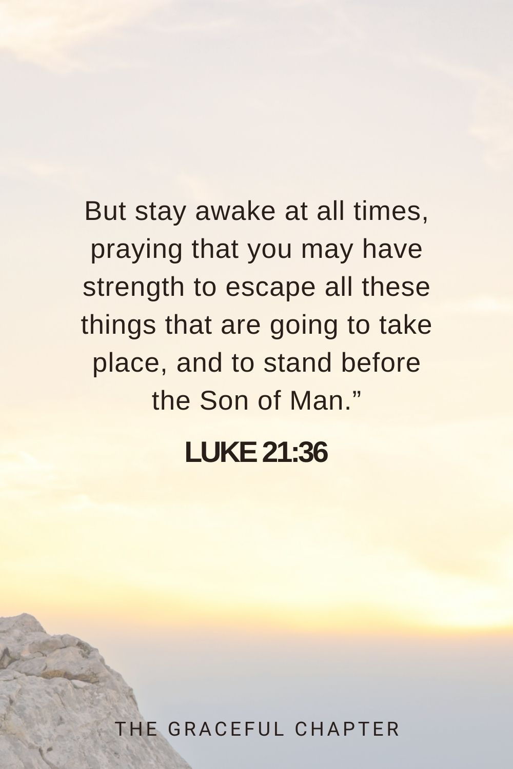 """But stay awake at all times, praying that you may have strength to escape all these things that are going to take place, and to stand before the Son of Man."""" Luke 21:36"""