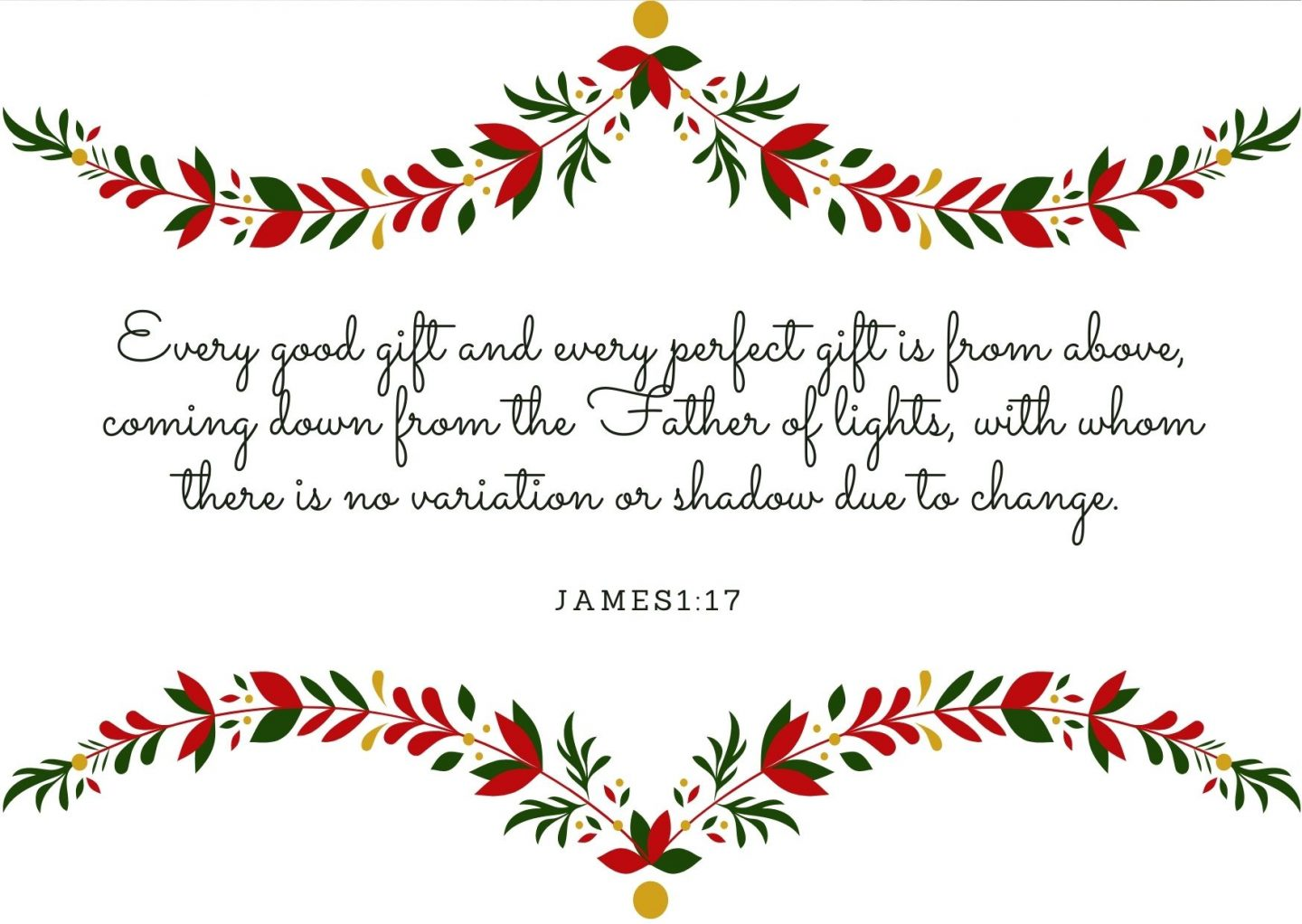 Every good gift and every perfect gift is from above, coming down from the Father of lights, with whom there is no variation or shadow due to change. James1:17