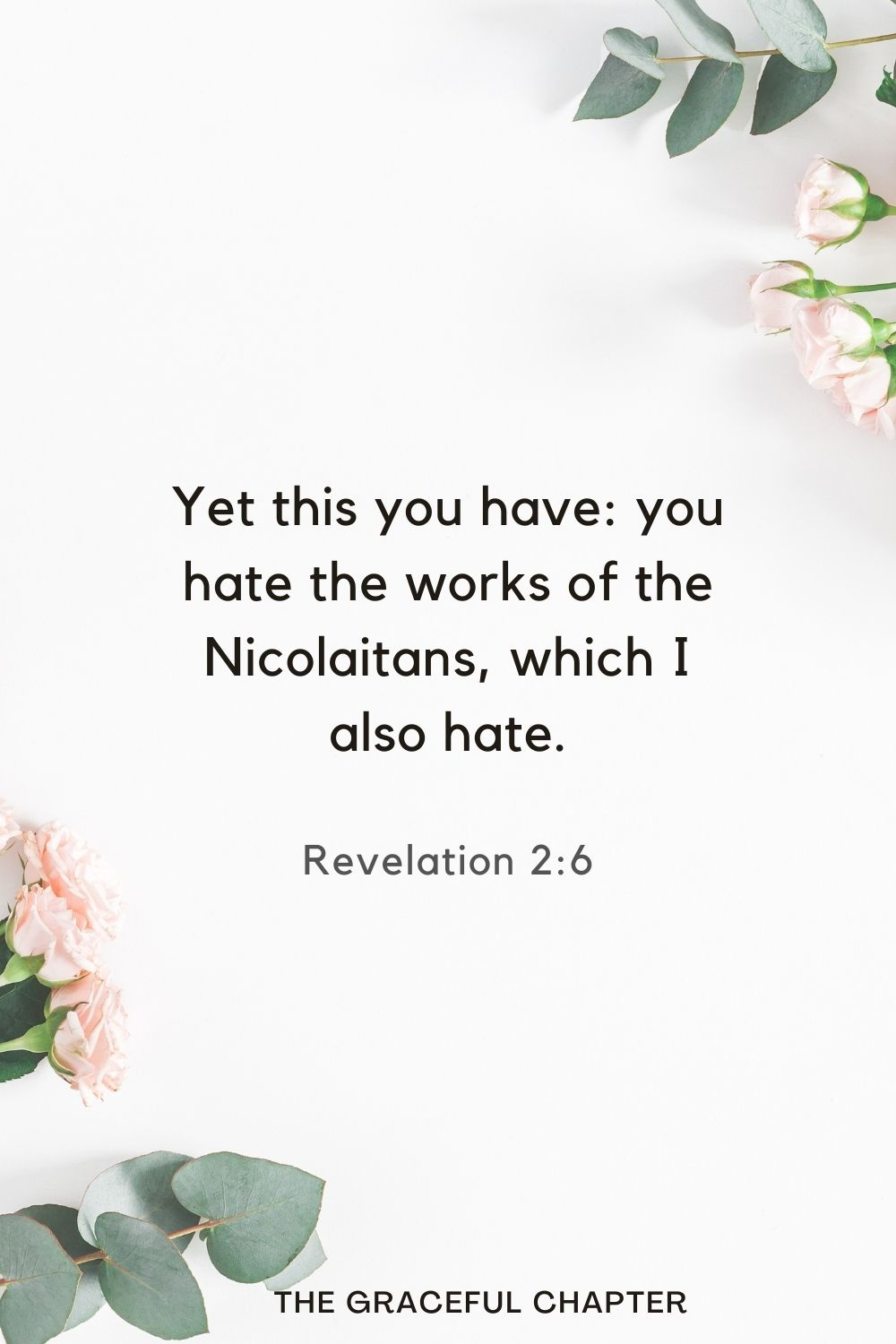 Yet this you have: you hate the works of the Nicolaitans, which I also hate. Revelation 2:6