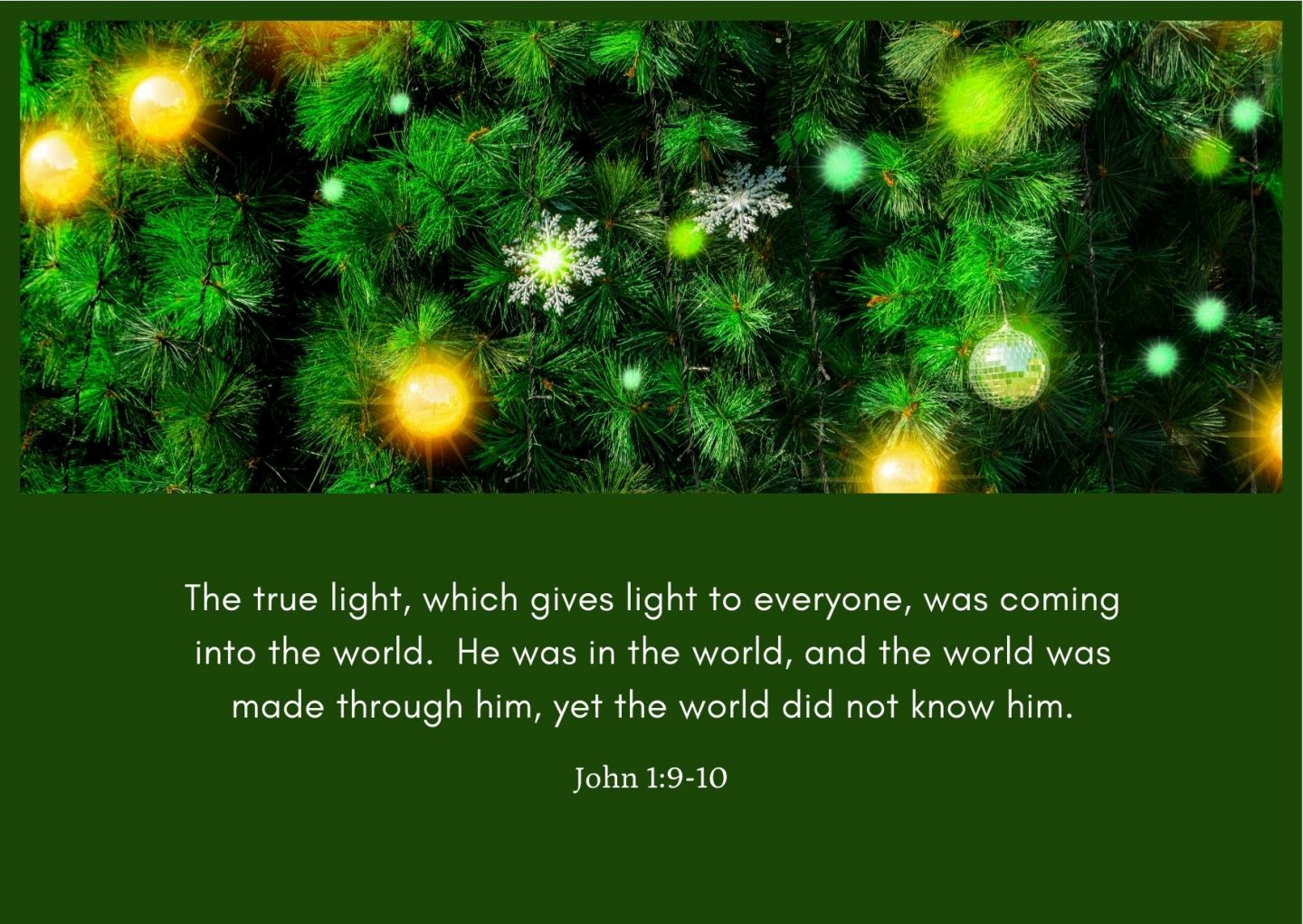 The true light, which gives light to everyone, was coming into the world. He was in the world, and the world was made through him, yet the world did not know him. John 1:9-10