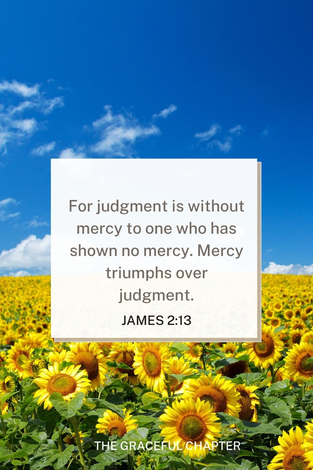 For judgment is without mercy to one who has shown no mercy. Mercy triumphs over judgment. James 2:13