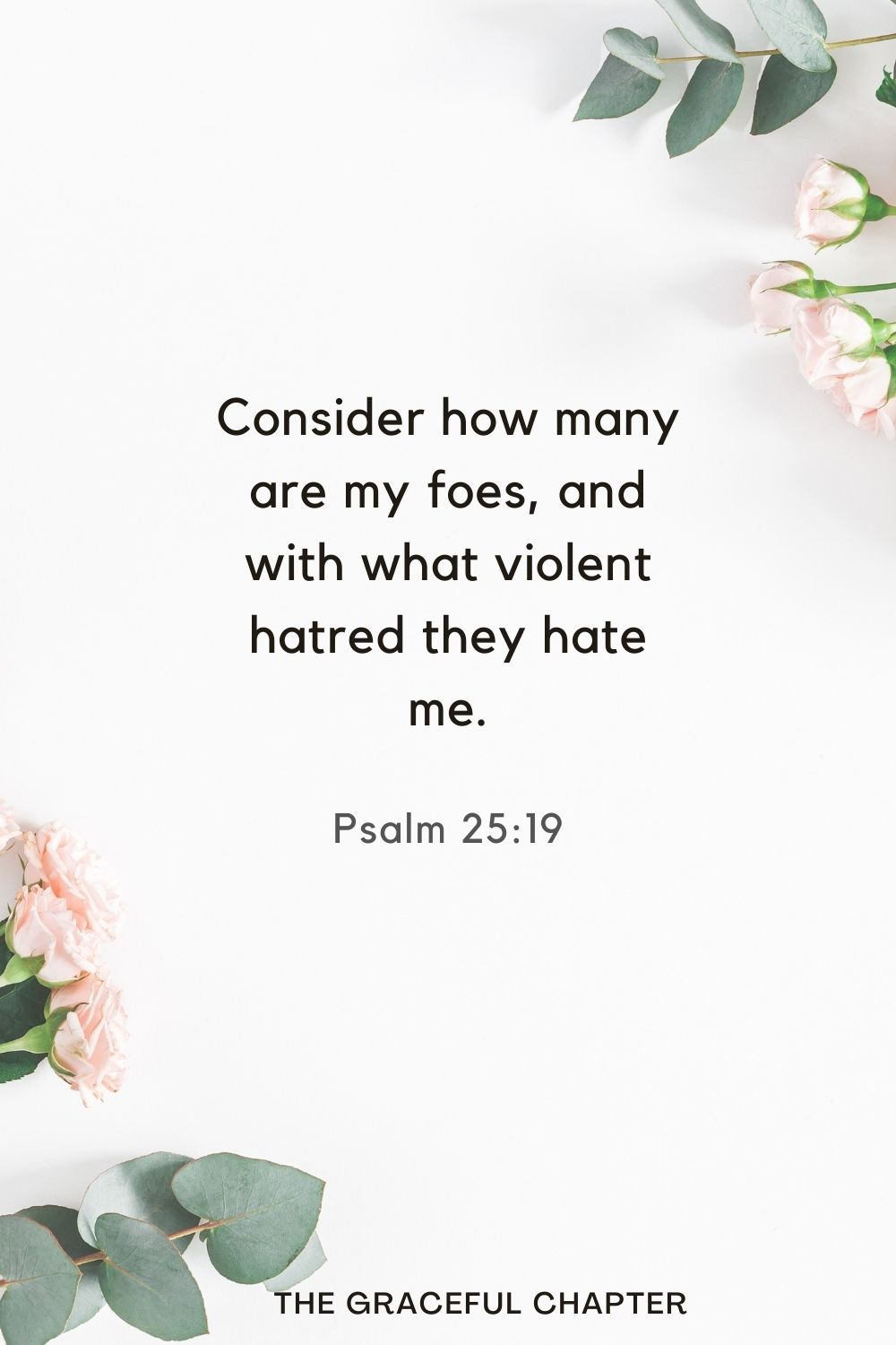 Consider how many are my foes, and with what violent hatred they hate me. Psalm 25:19