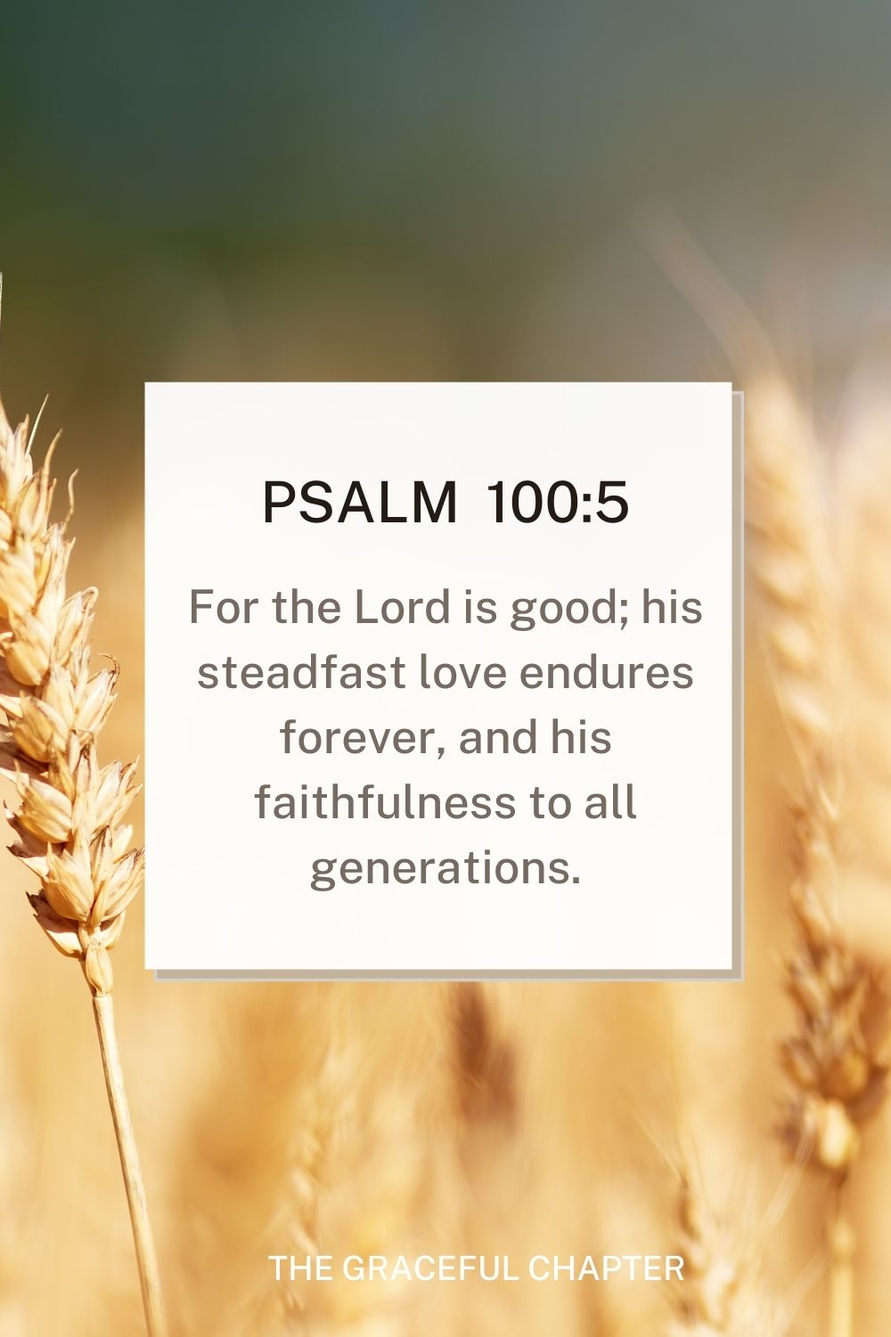 For the Lord is good; his steadfast love endures forever, and his faithfulness to all generations. Psalm 100:5