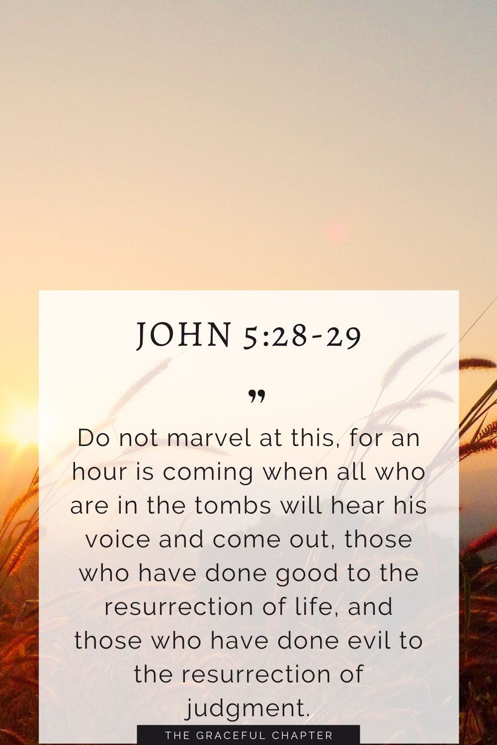 Do not marvel at this, for an hour is coming when all who are in the tombs will hear his voiceand come out, those who have done good to the resurrection of life, and those who have done evil to the resurrection of judgment. John 5:28-29