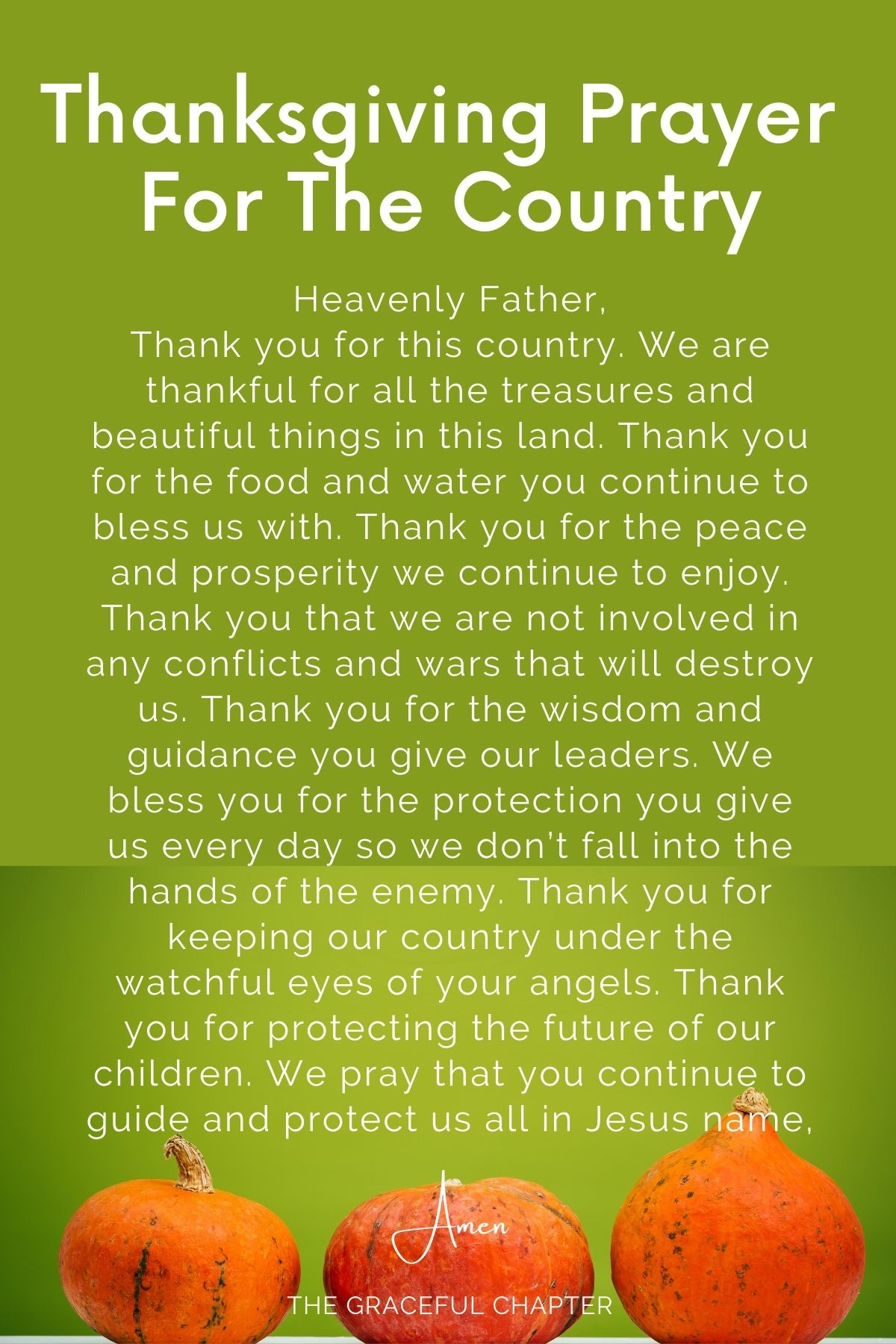 Thanksgiving prayer for the country - prayers for thanksgiving day