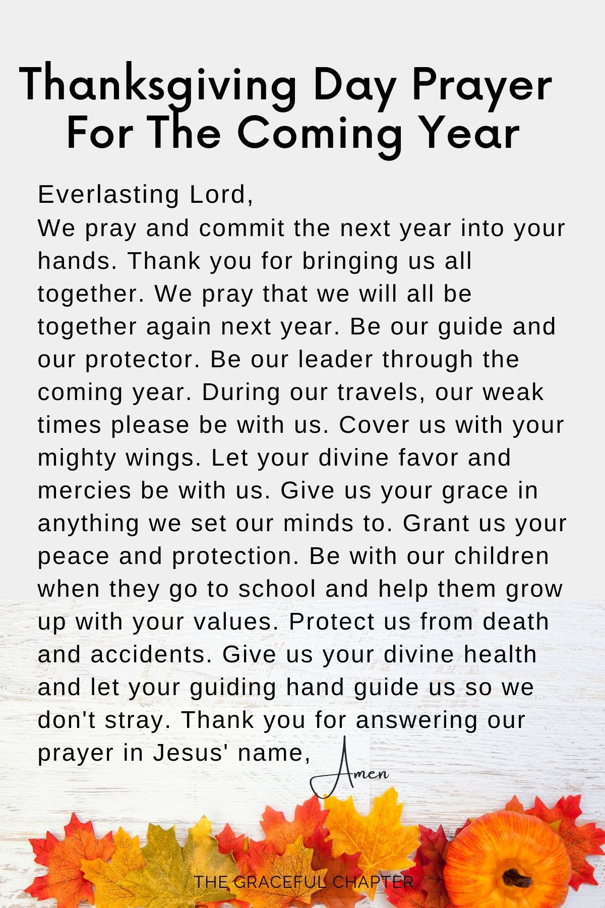 prayers for thanksgiving day - for the coming year