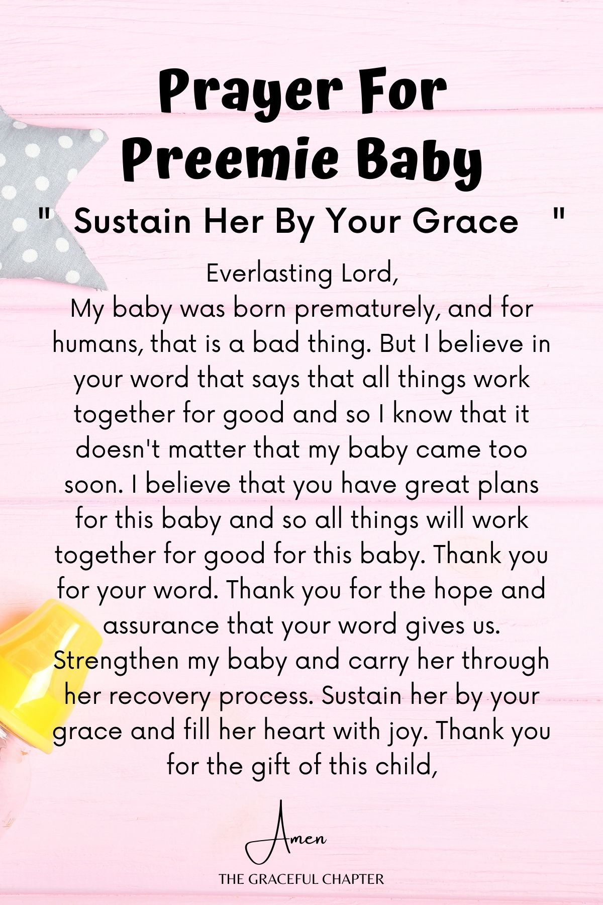 Sustain her by your grace - prayer for preterm baby