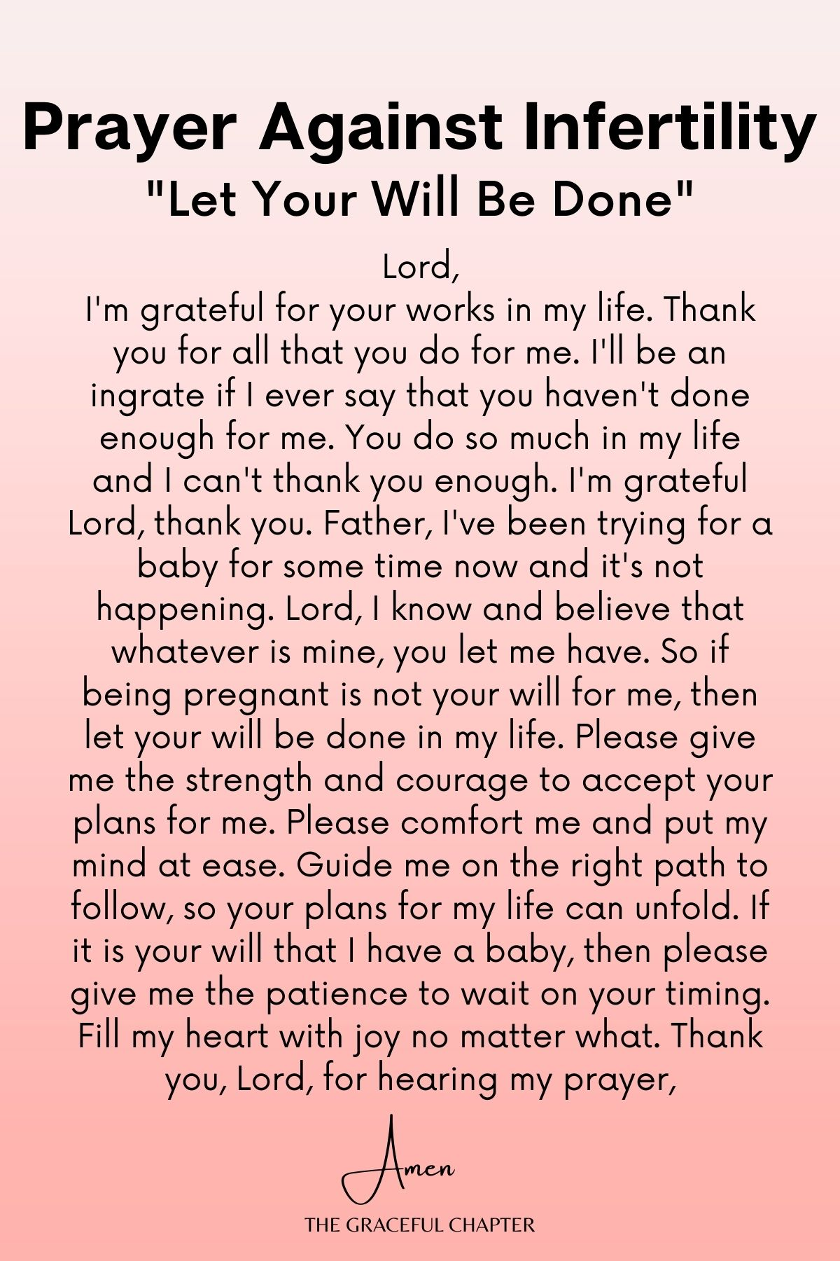 Prayer against infertility - Let your will be done