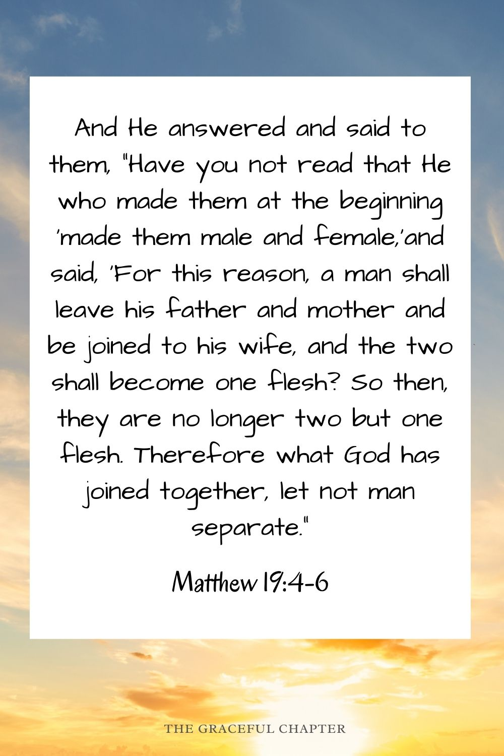 """And He answered and said to them, """"Have you not read that He who made them at the beginning 'made them male and female,'and said, 'For this reason, a man shall leave his father and mother and be joined to his wife, and the two shall become one flesh? So then, they are no longer two but one flesh. Therefore what God has joined together, let not man separate."""" Matthew 19:4-6"""