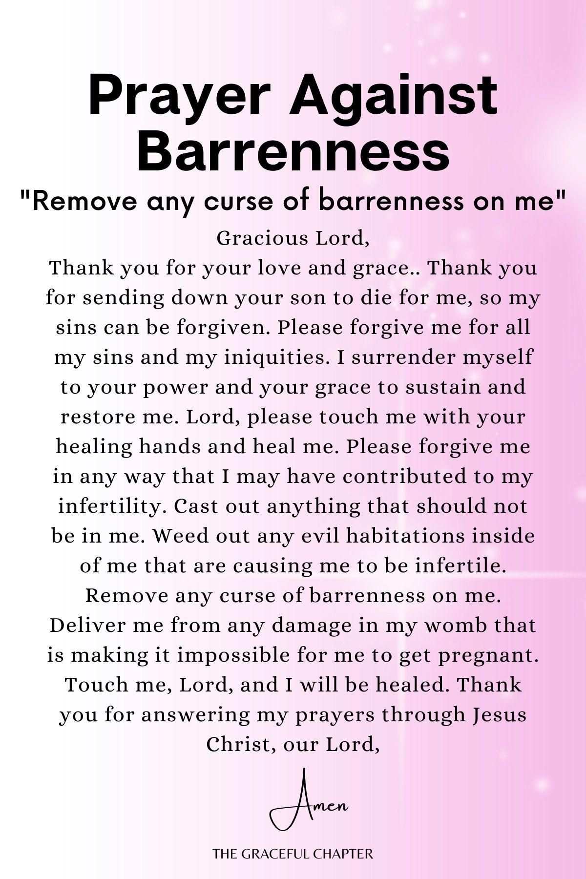 Prayer against barrenness