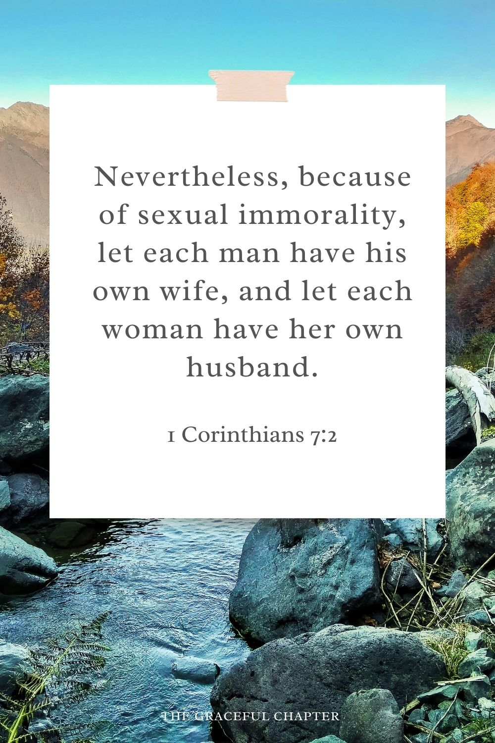 Nevertheless, because of sexual immorality, let each man have his own wife, and let each woman have her own husband. 1 Corinthians 7:2