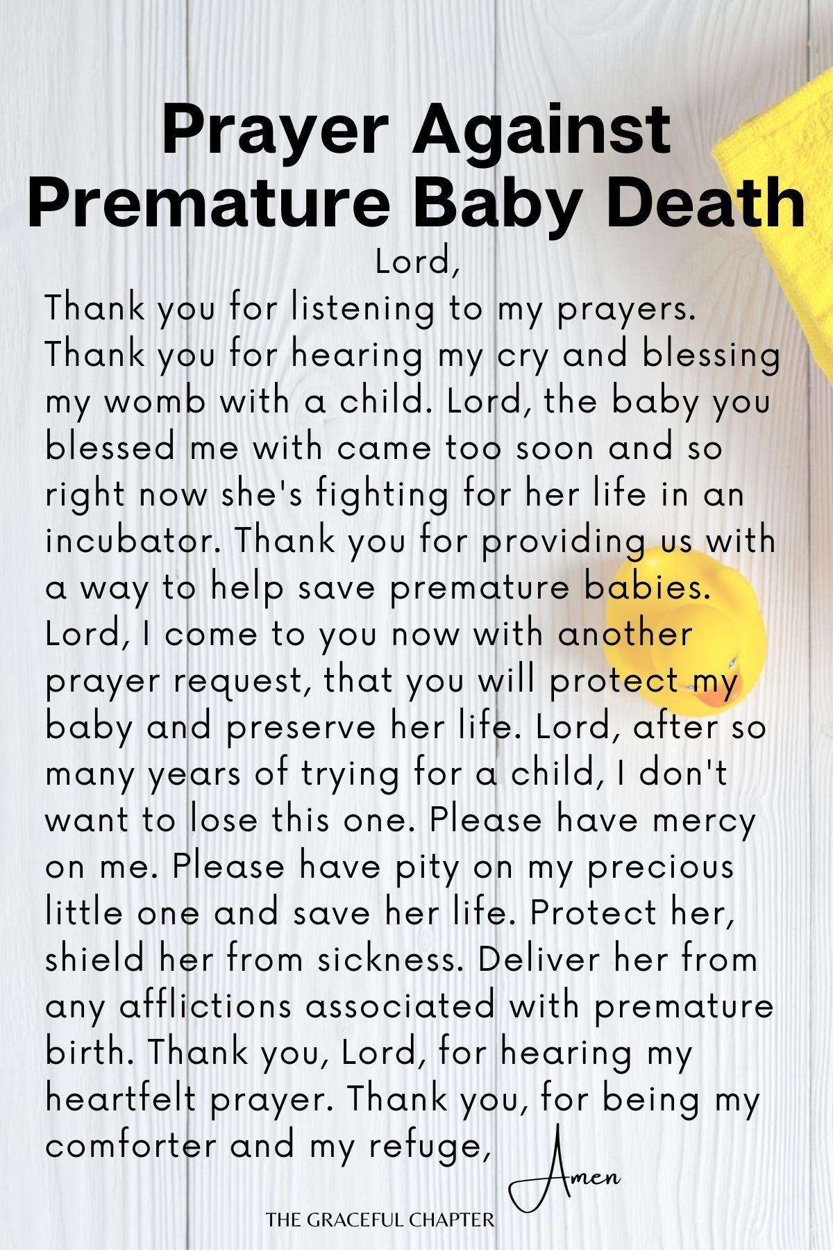 Prayer against premature baby death