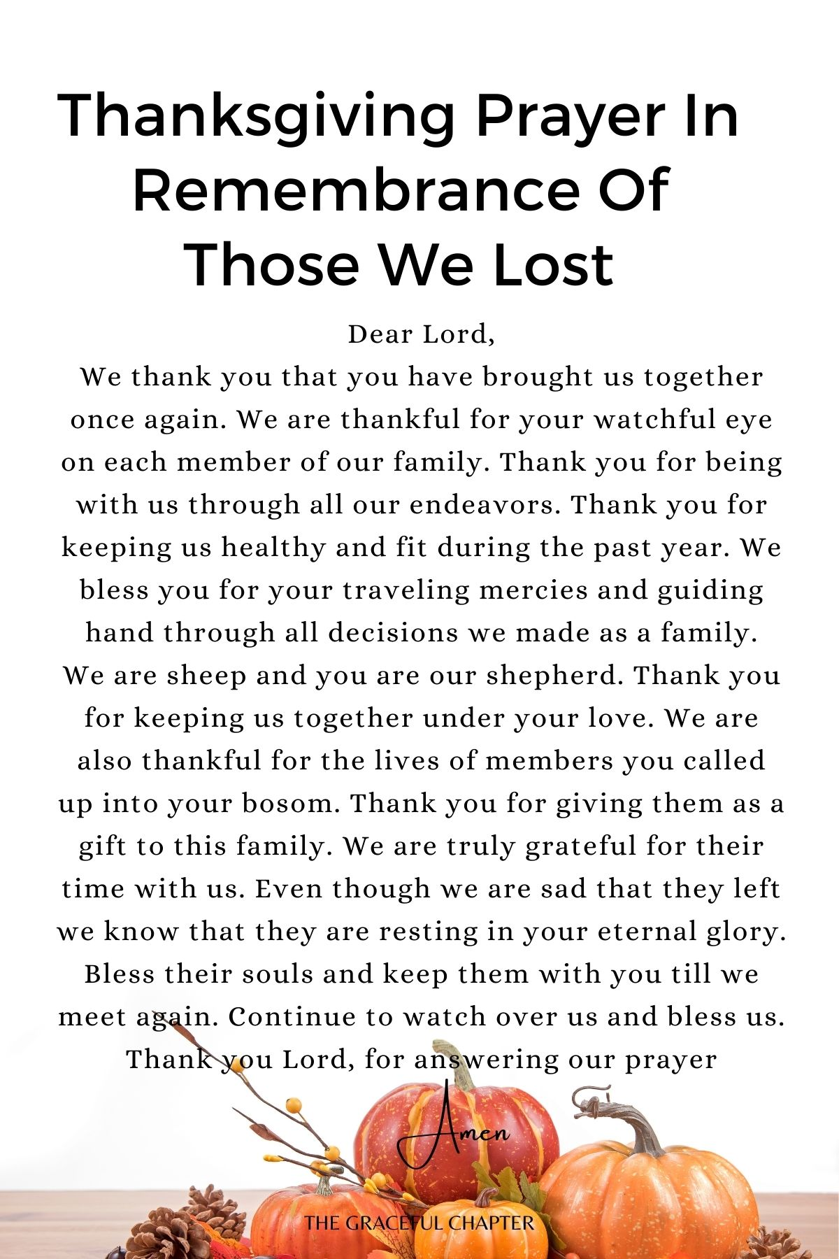 Thanksgiving prayer in remembrance of those we lost