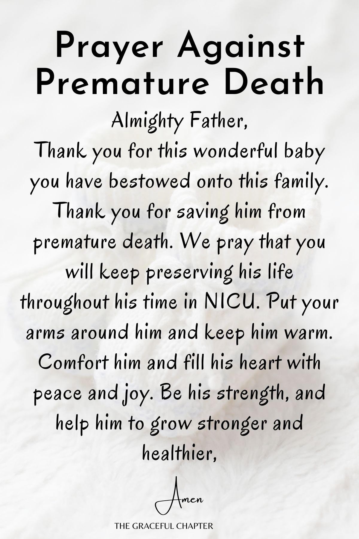 Prayer against premature death