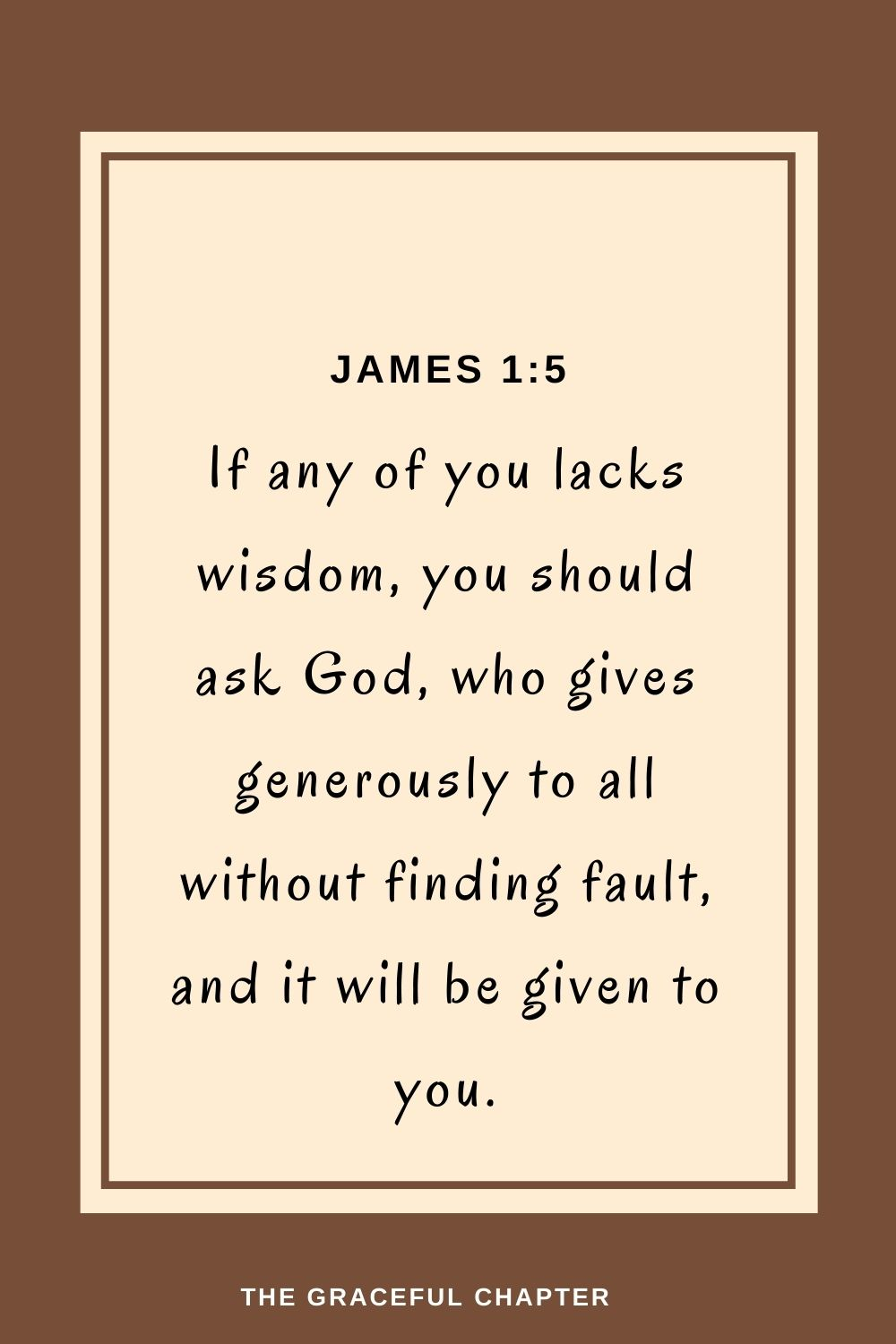 If any of you lacks wisdom, you should ask God,who gives generously to all without finding fault, and it will be given to you. James 1:5