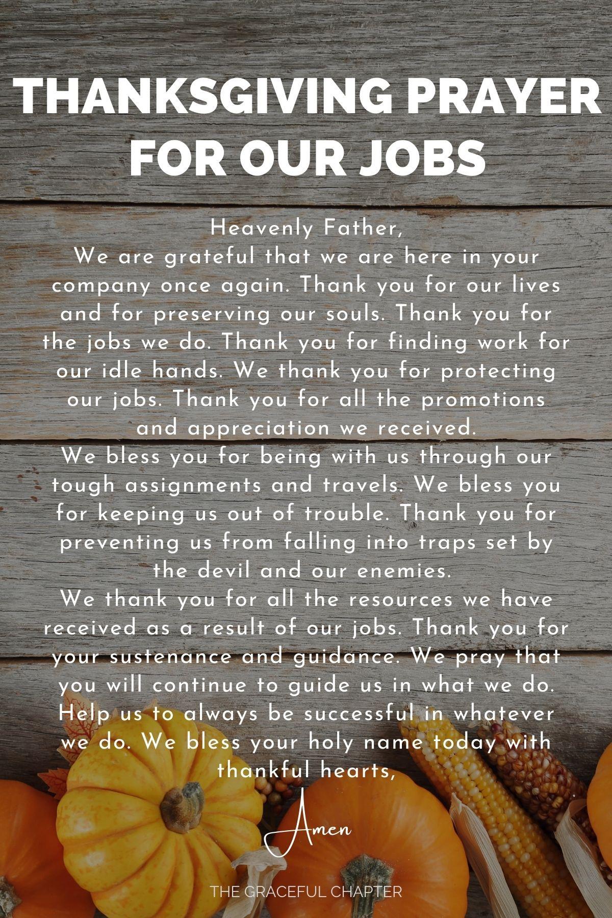 Thanksgiving prayer for our jobs