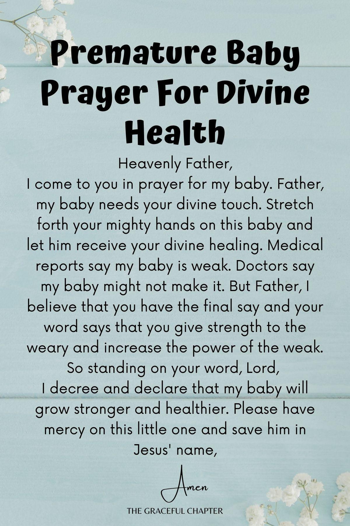 Premature baby prayer for divine health