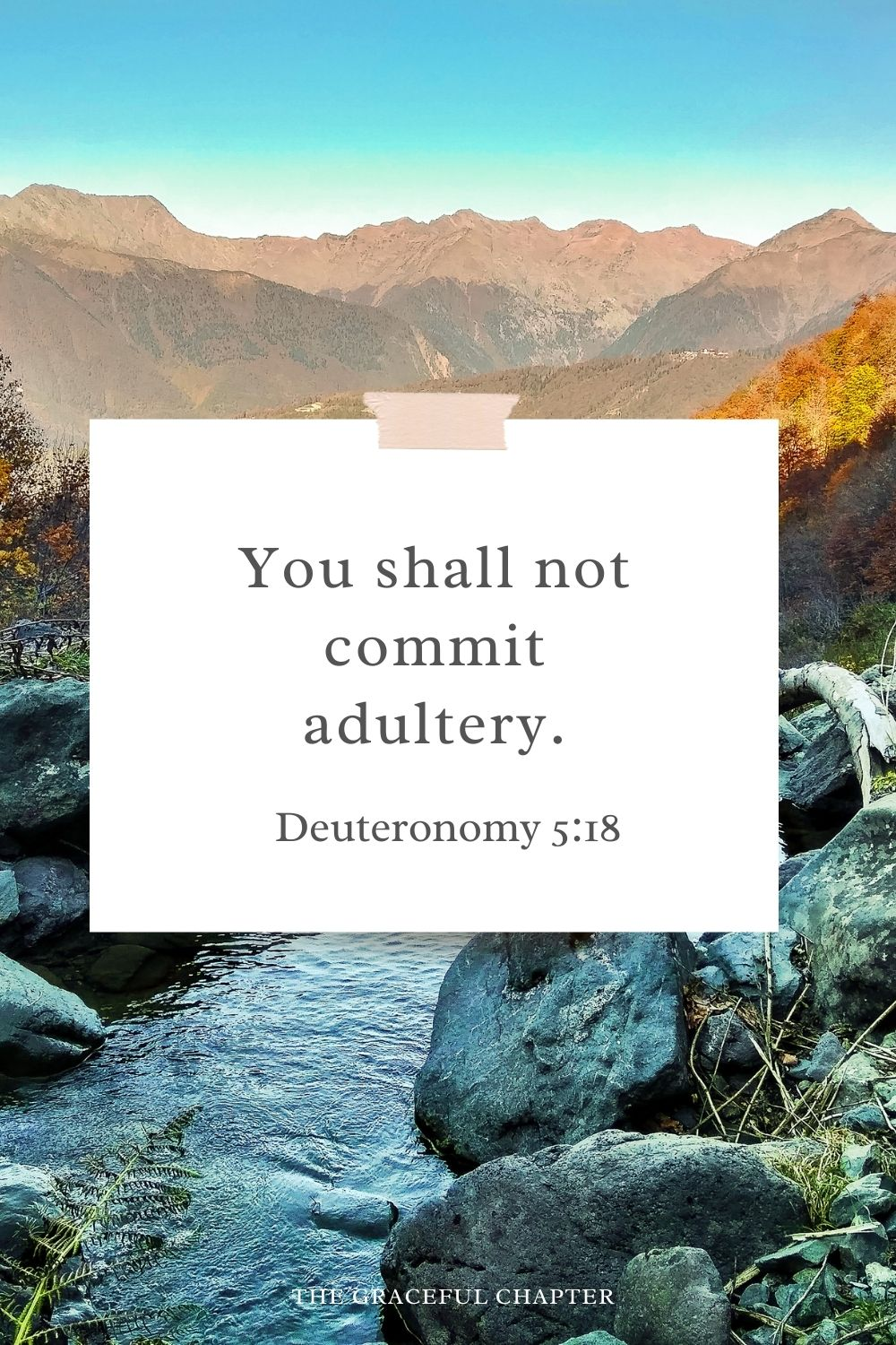 You shall not commit adultery. Deuteronomy 5:18