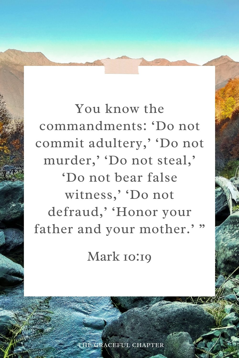 """You know the commandments: 'Do not commit adultery,' 'Do not murder,' 'Do not steal,' 'Do not bear false witness,' 'Do not defraud,' 'Honor your father and your mother.' """" Mark 10:19"""