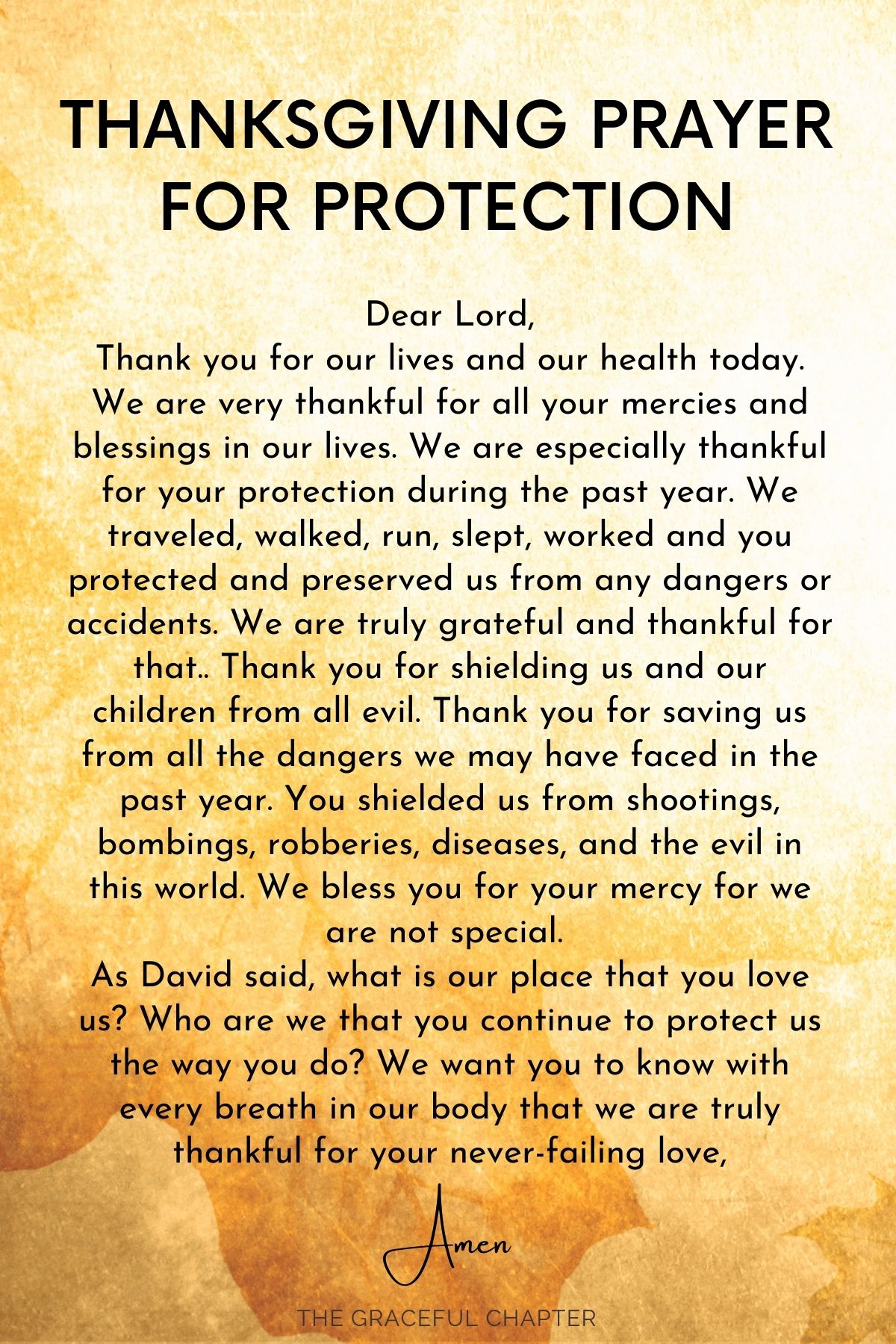 Thanksgiving prayer for protection