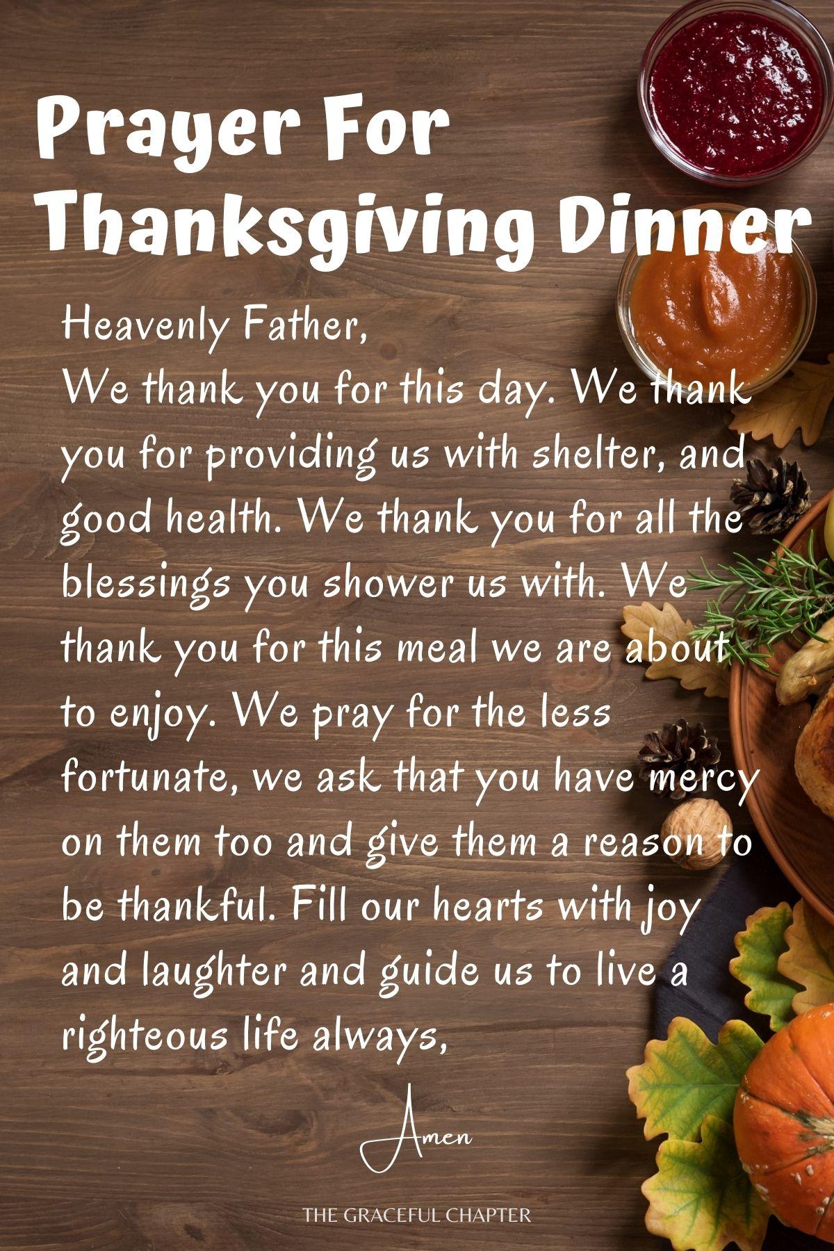 prayer for thanksgiving dinner