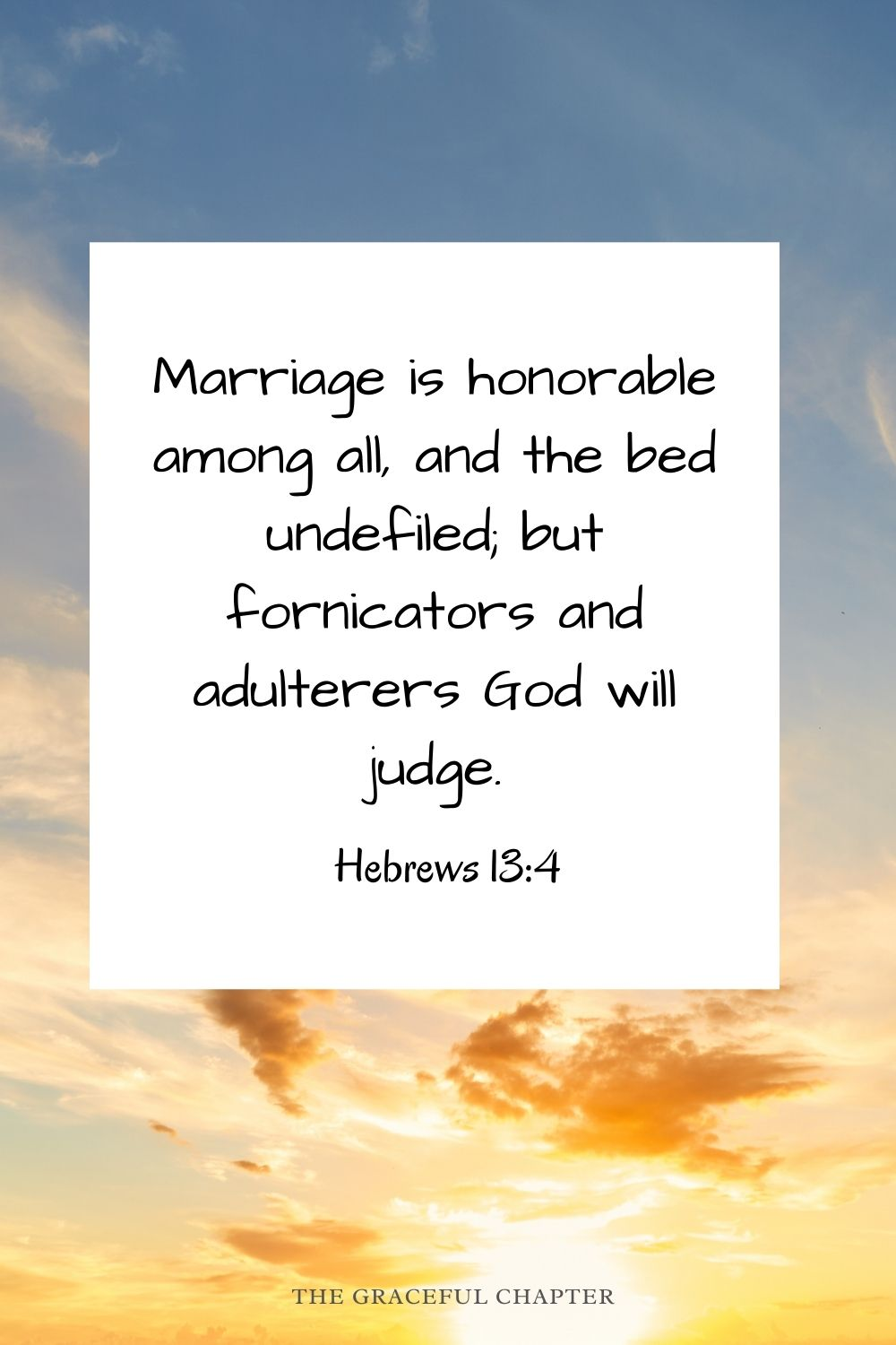 Marriage is honorable among all, and the bed undefiled; but fornicators and adulterers God will judge. Hebrews 13:4