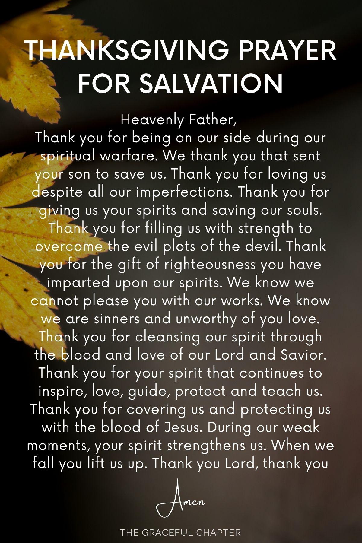 thanksgiving prayer for salvation