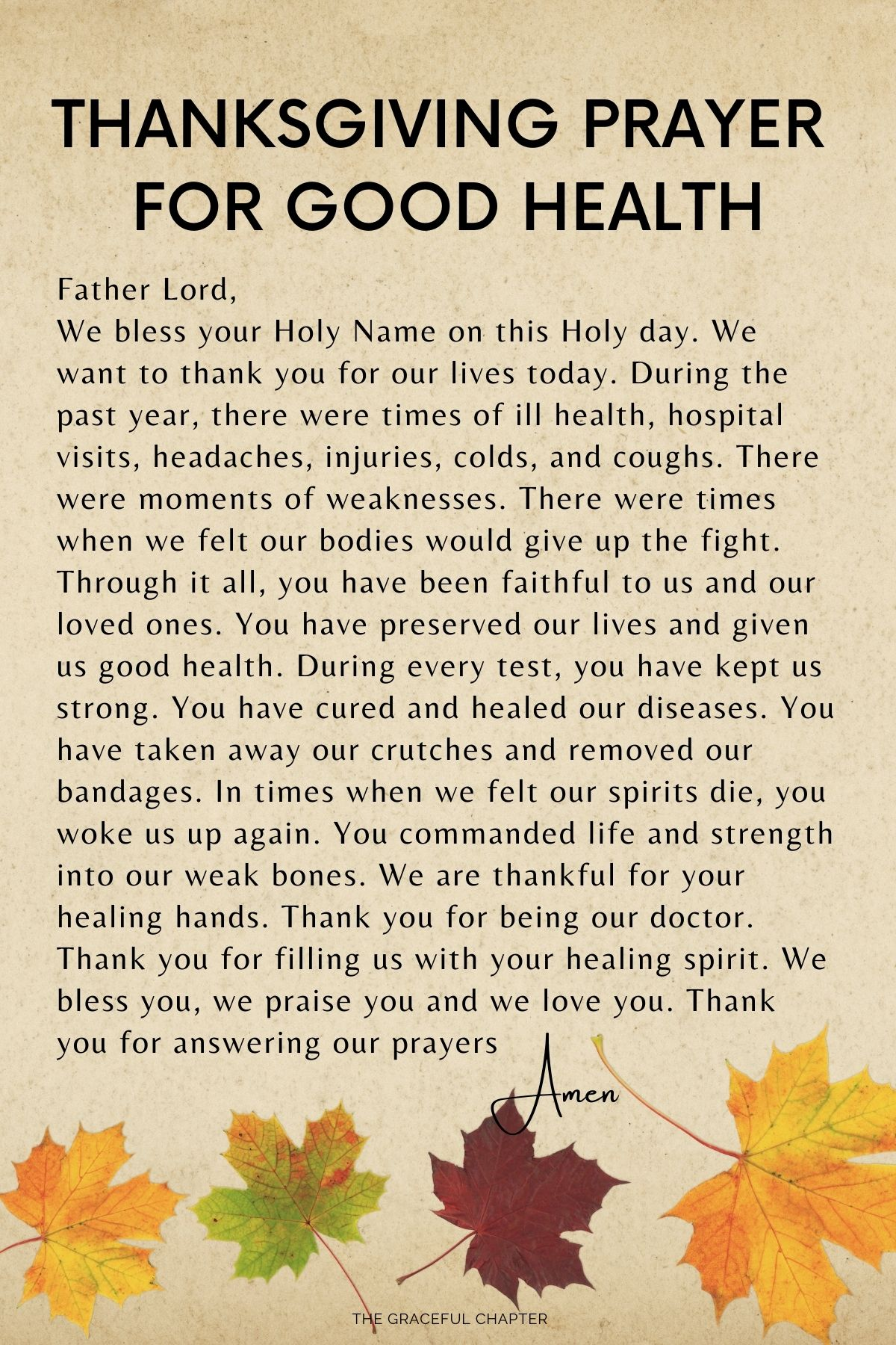 Thanksgiving prayer for good health - prayers for thanksgiving day