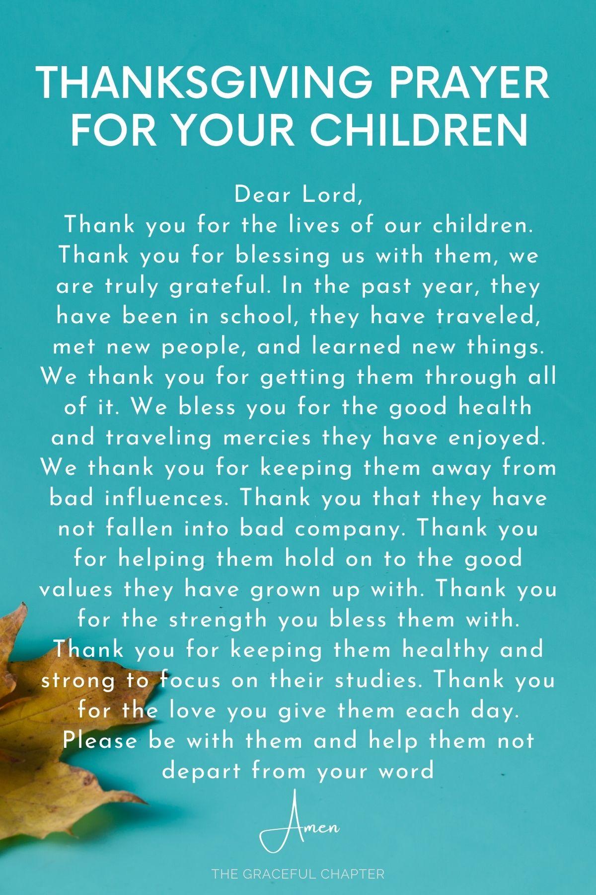 Thanksgiving prayer for your children