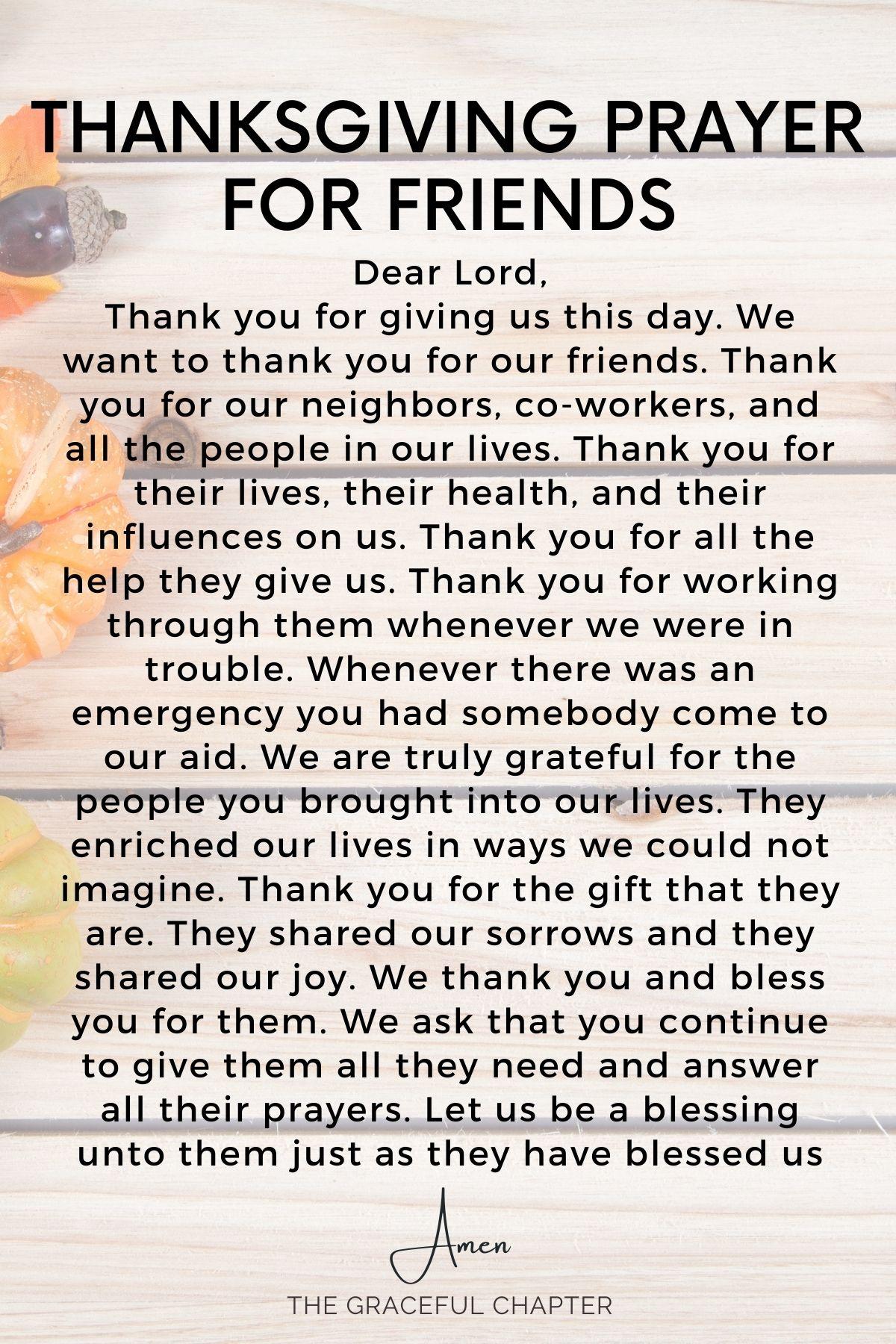 Thanksgiving prayer for friends