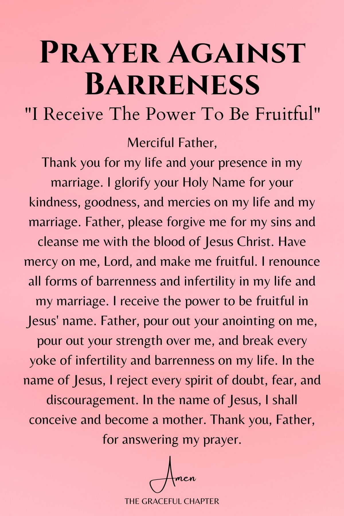 Prayer against infertility - I receive the power to be fruitful