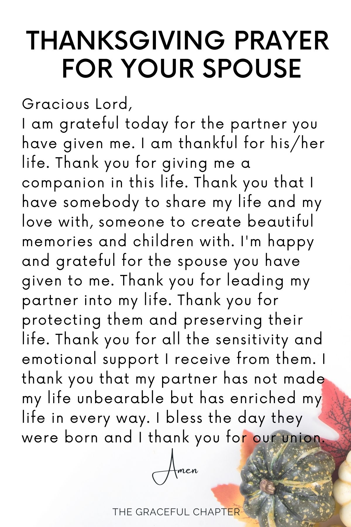 Thanksgiving prayer for your spouse