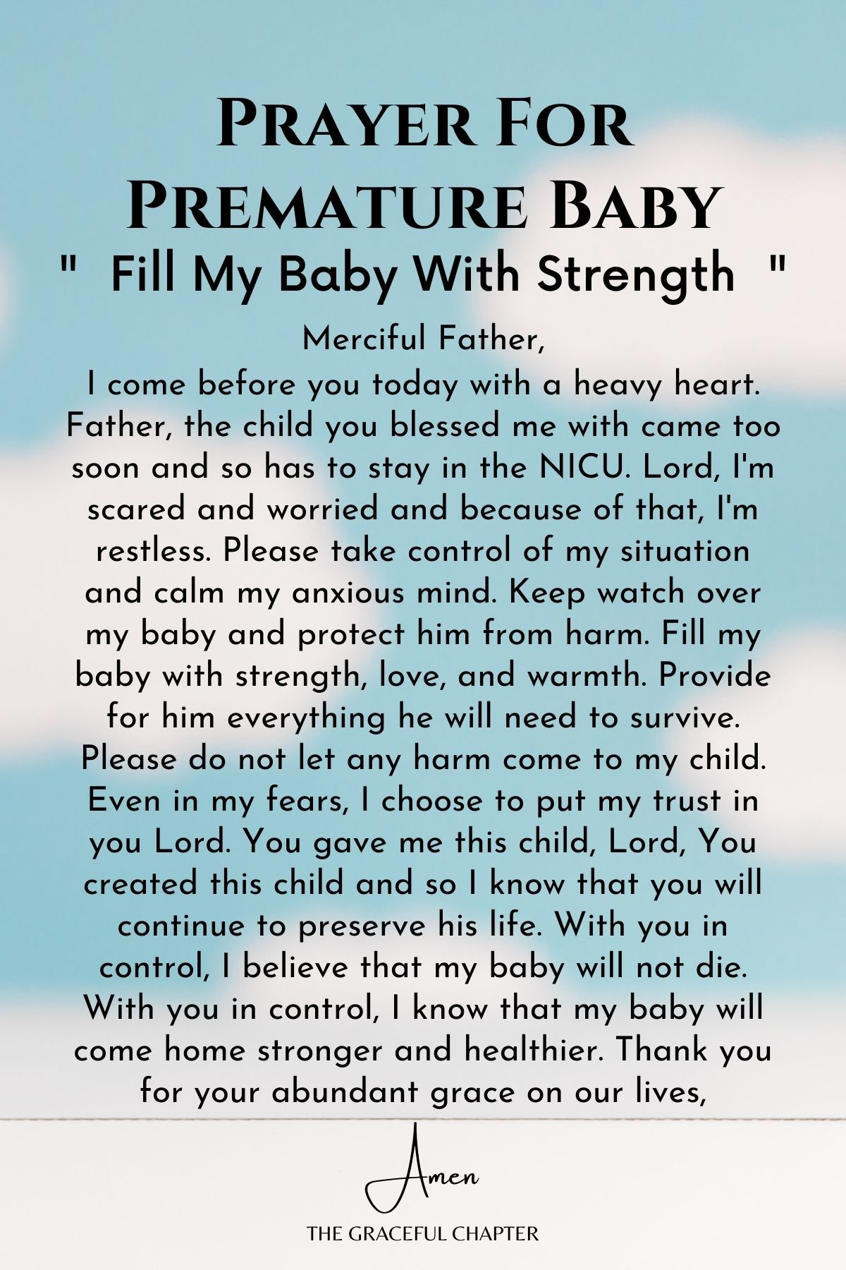 Fill my baby with strength  - prayer for preemie baby