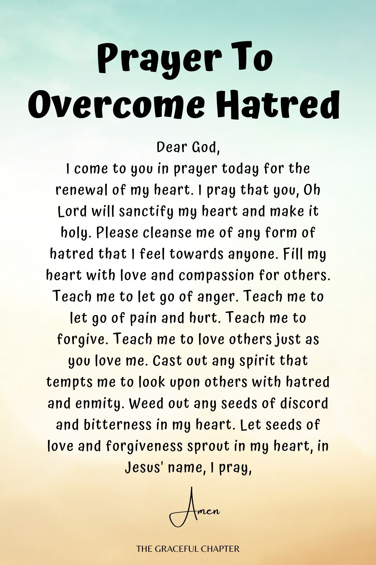 Prayer to overcome hatred
